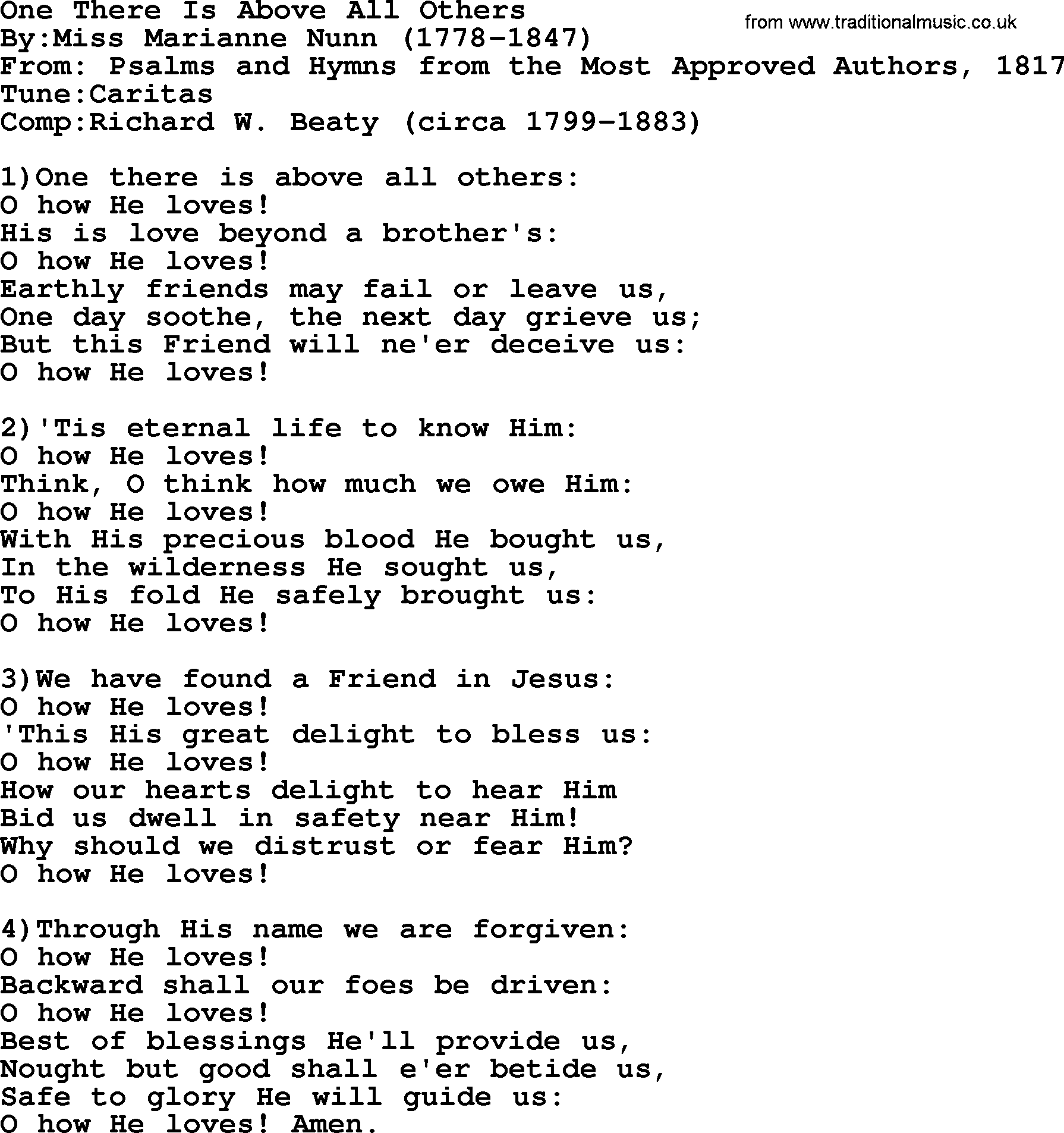 I Have a Friend Above All Others Lyrics