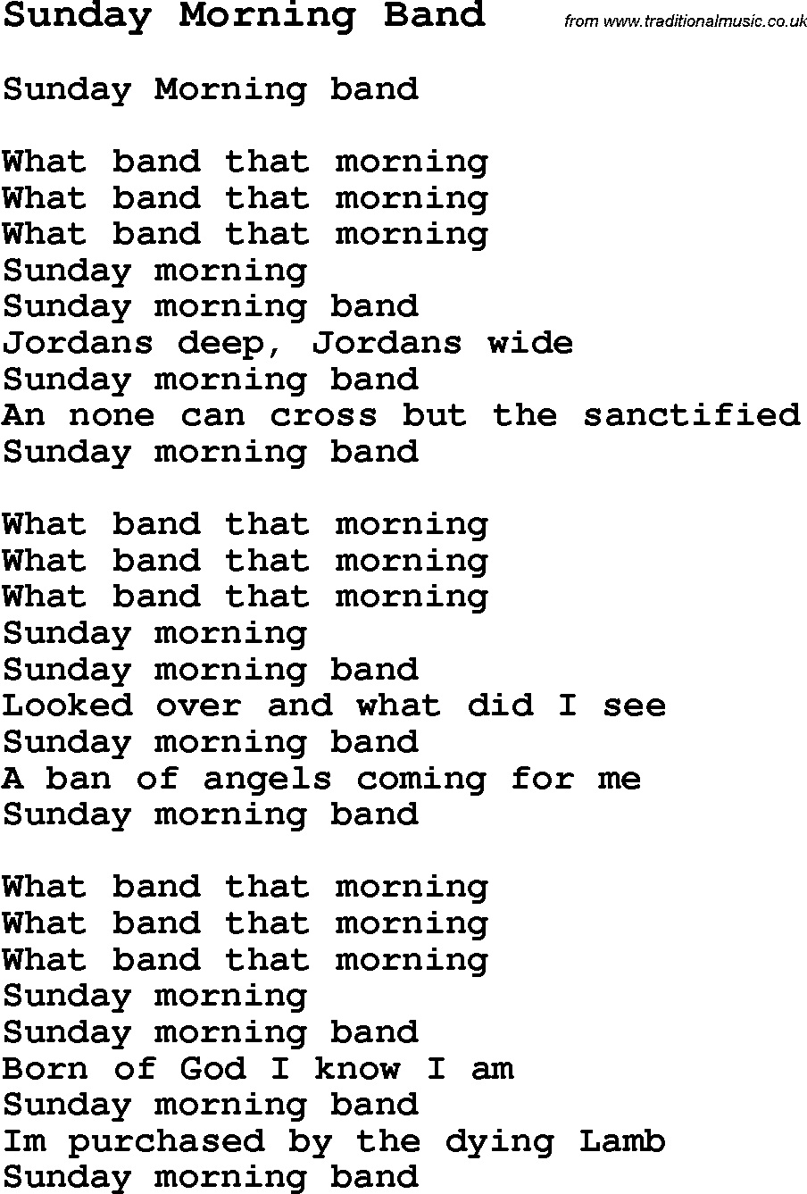 Download sunday morning band as pdf file for printing etc