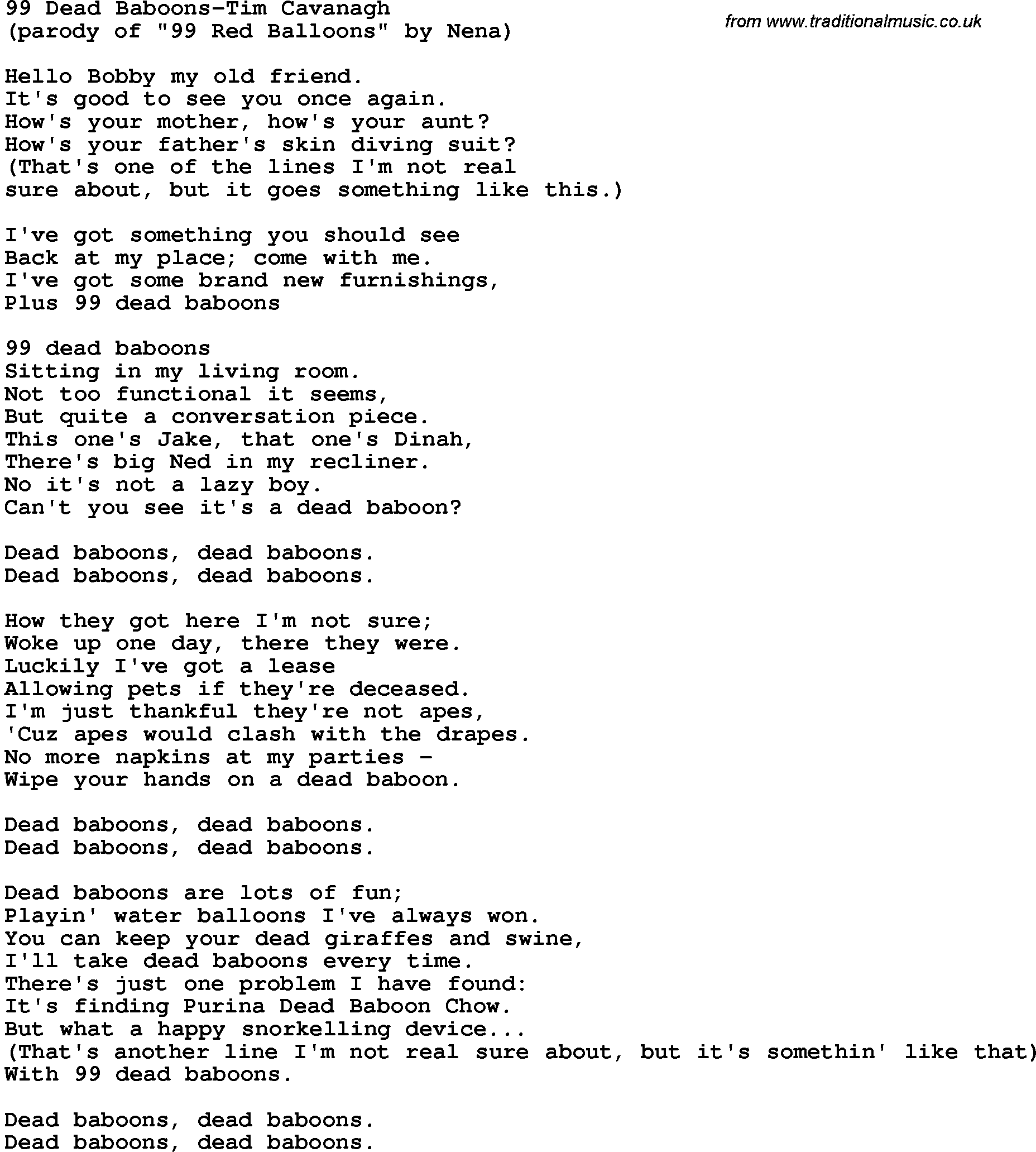 Novelty Song 99 Dead Baboons Tim Cavanagh Lyrics