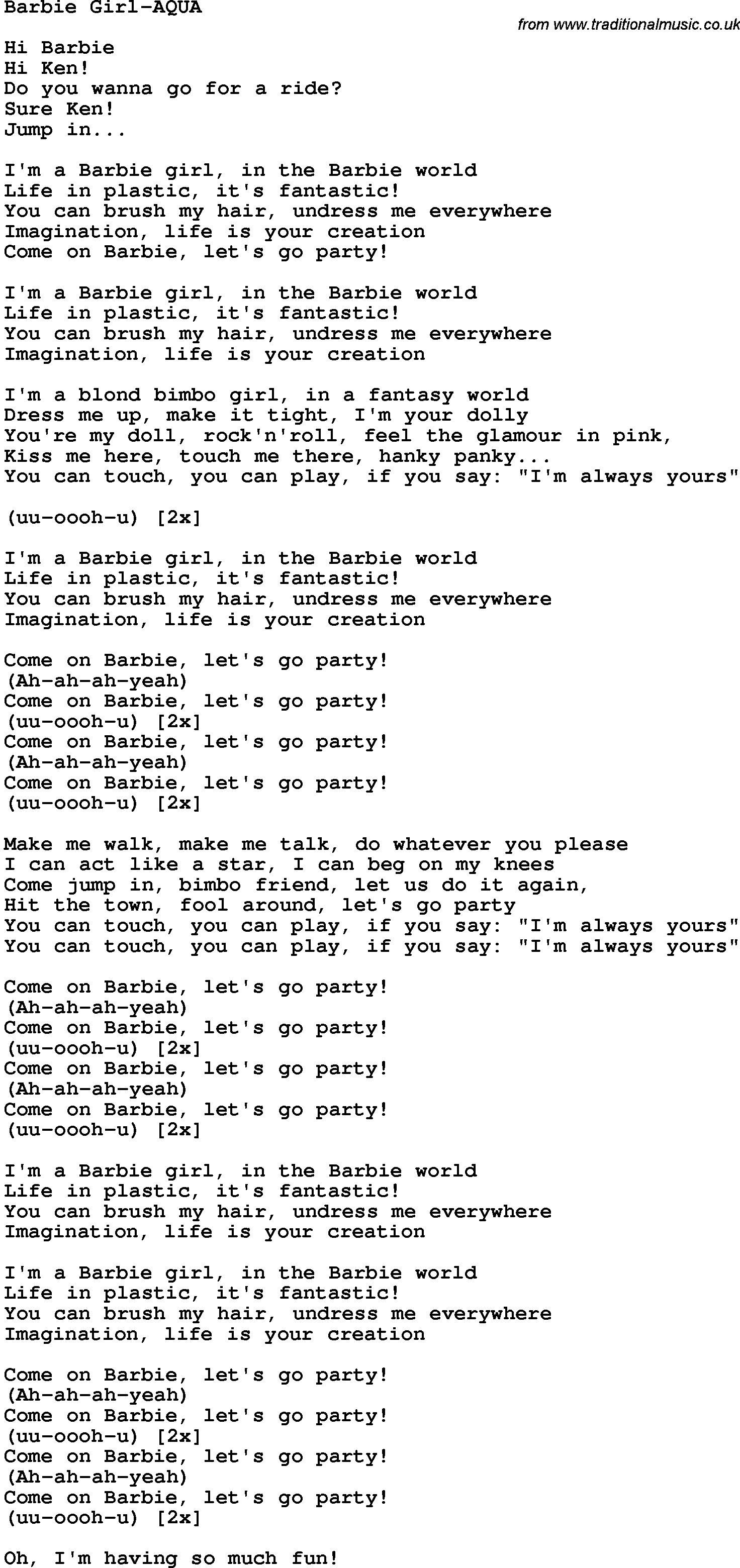 lyrics barbie