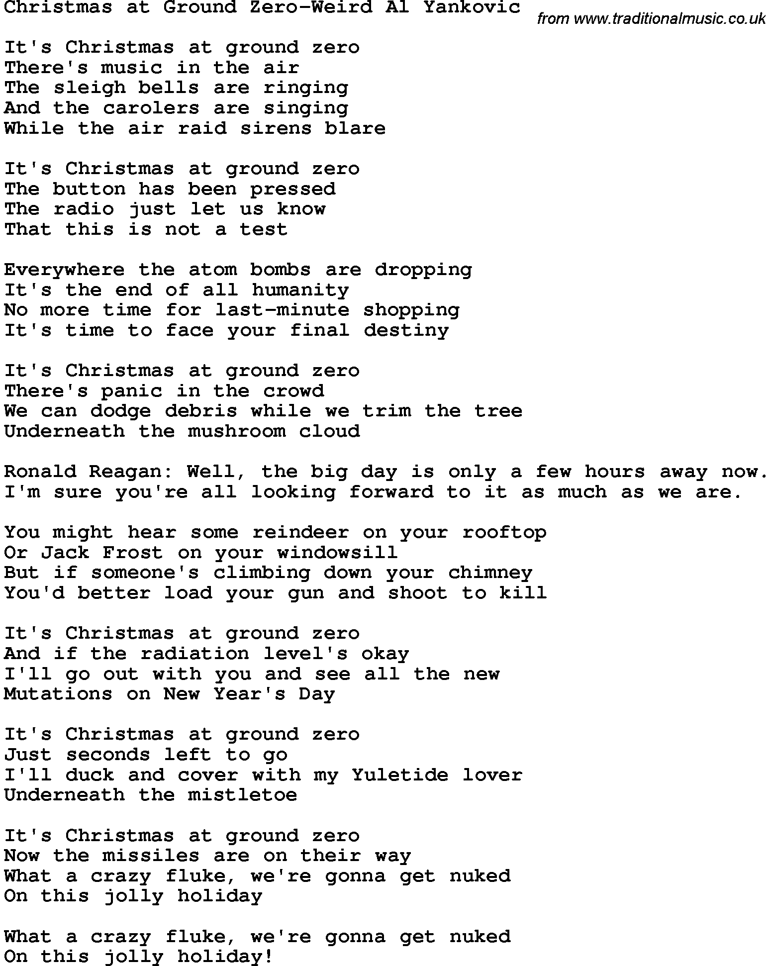 Novelty Song: Christmas At Ground Zero-Weird Al Yankovic lyrics