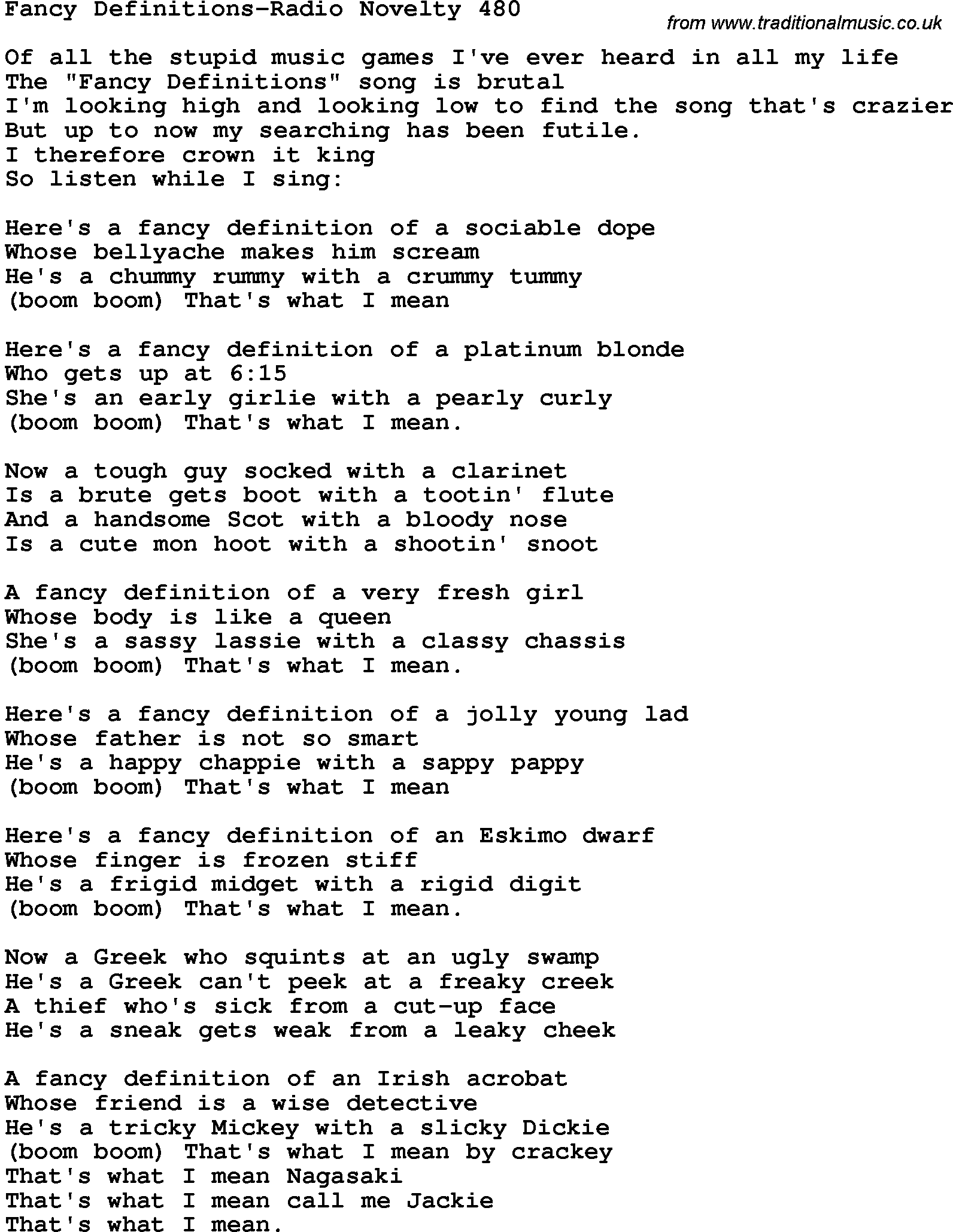 novelty song fancy definitions radio novelty 480 lyrics