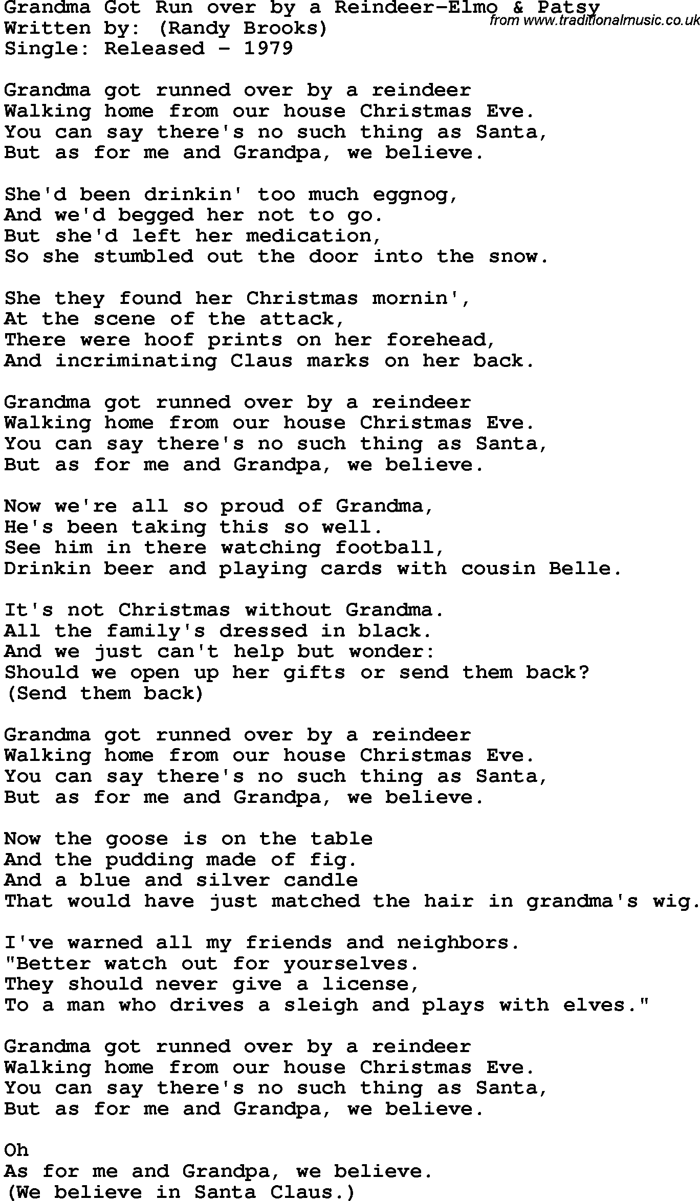 Novelty Song Grandma Got Run Over By A Reindeer Elmo Patsy lyrics
