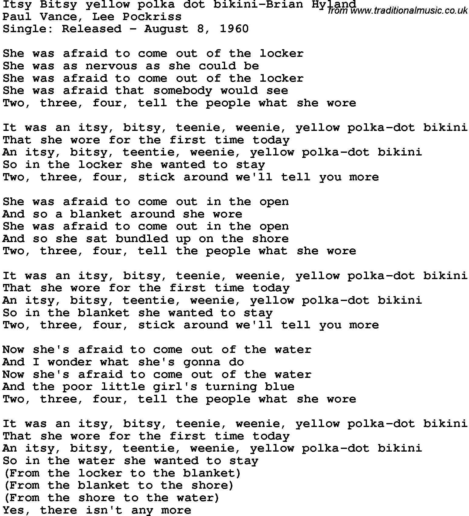 Poka dot bikini lyrics