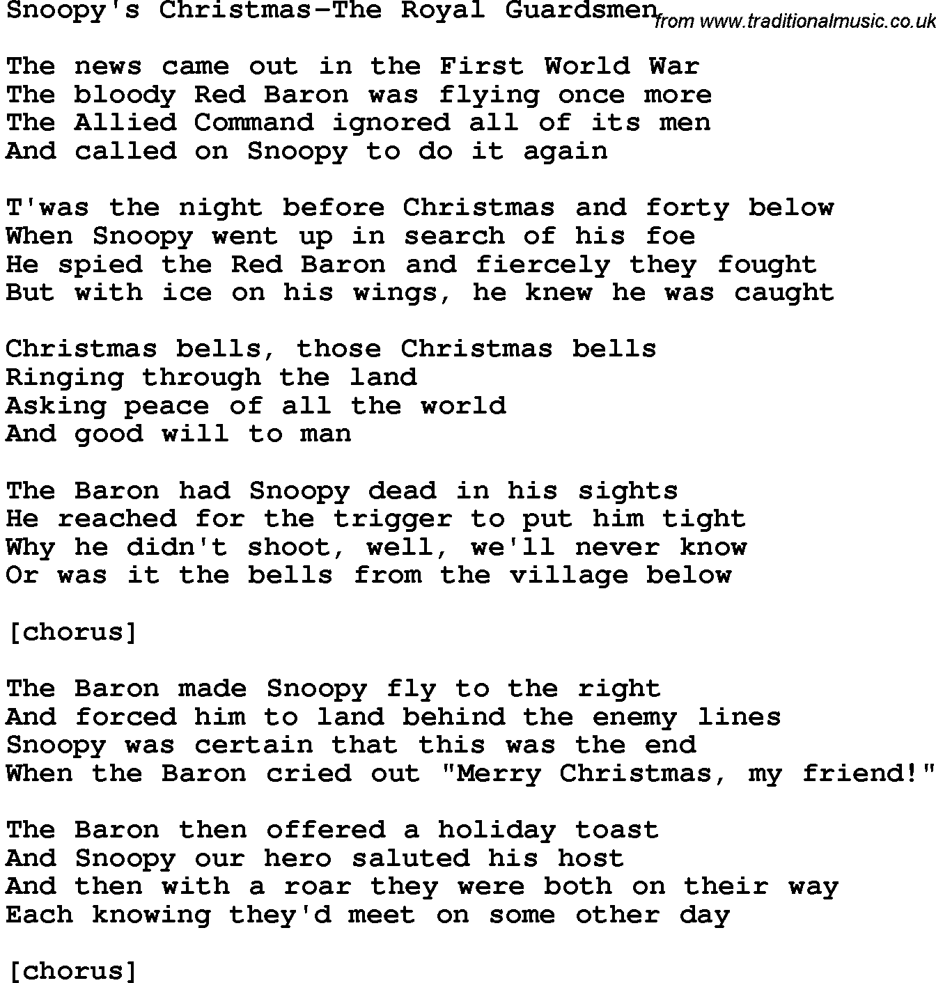novelty song snoopys christmas the royal guardsmen lyrics