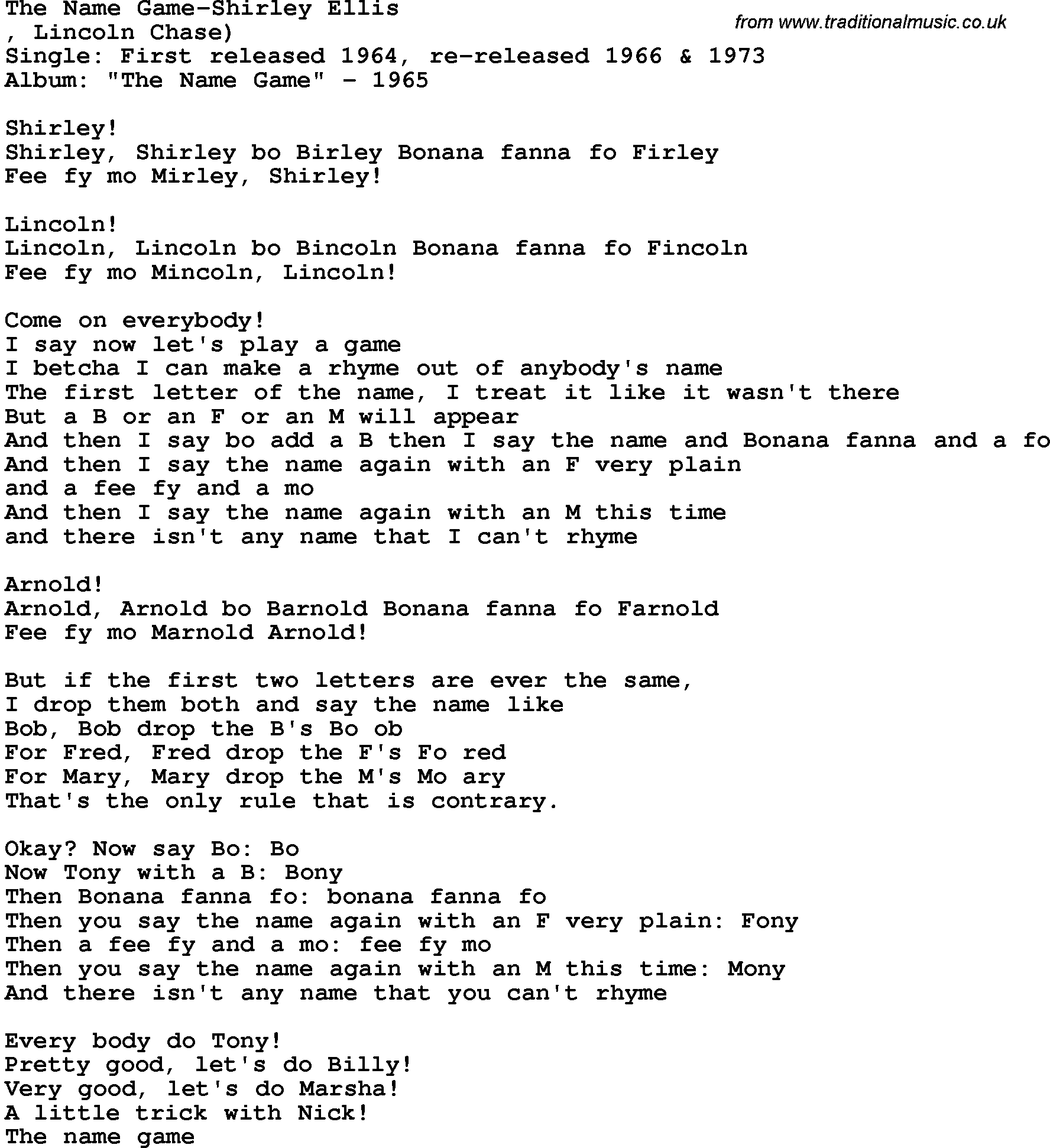 Novelty Song: The Name Game-Shirley Ellis lyrics