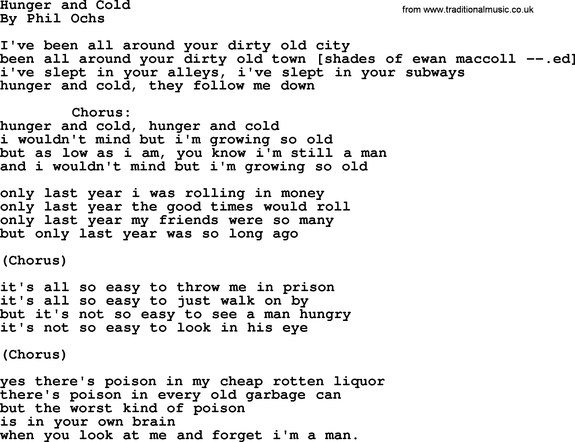 Phil ochs song hunger and cold phil ochs lyrics phil ochs song hunger and cold lyrics hexwebz Image collections