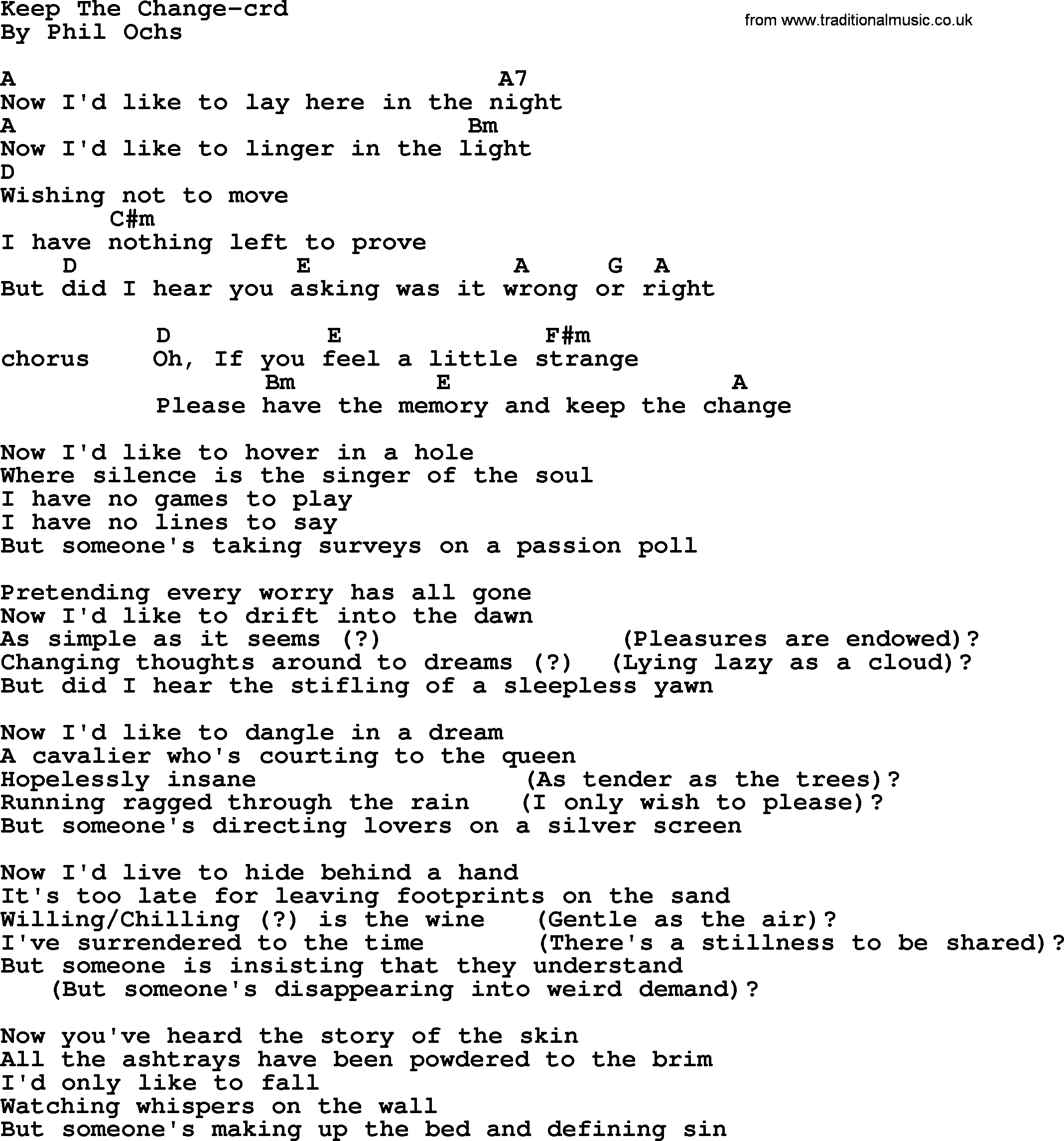 Phil Ochs Song Keep The Change Lyrics And Chords