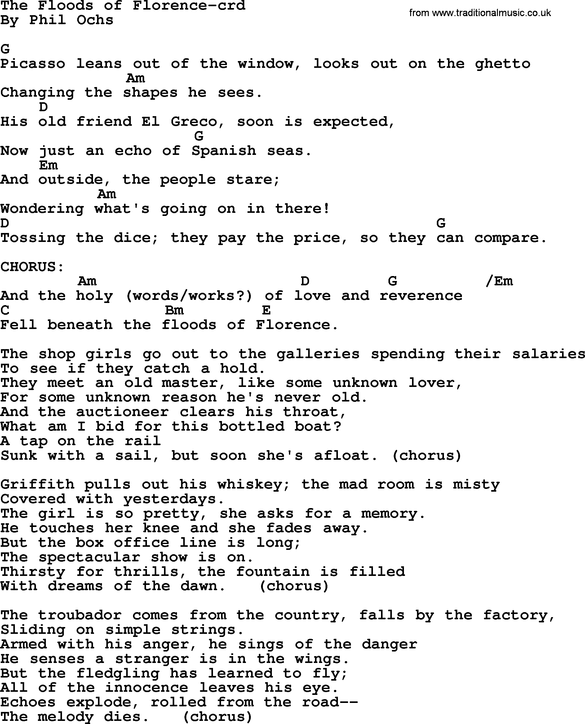 Phil ochs song the floods of florence lyrics and chords phil ochs song the floods of florence by phil ochs lyrics and chords hexwebz Images