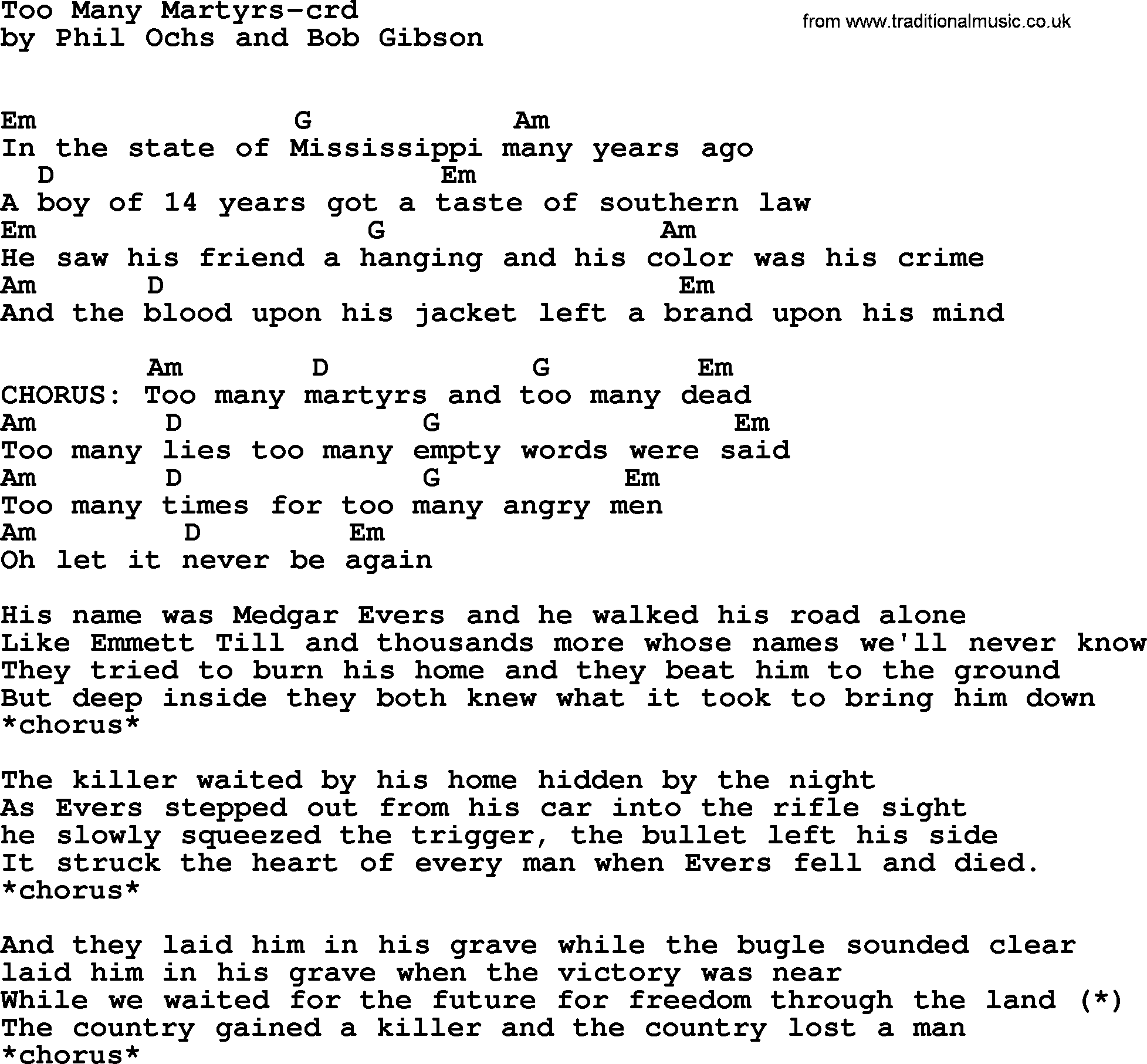 Phil Ochs song - Too Many Martyrs, lyrics and chords