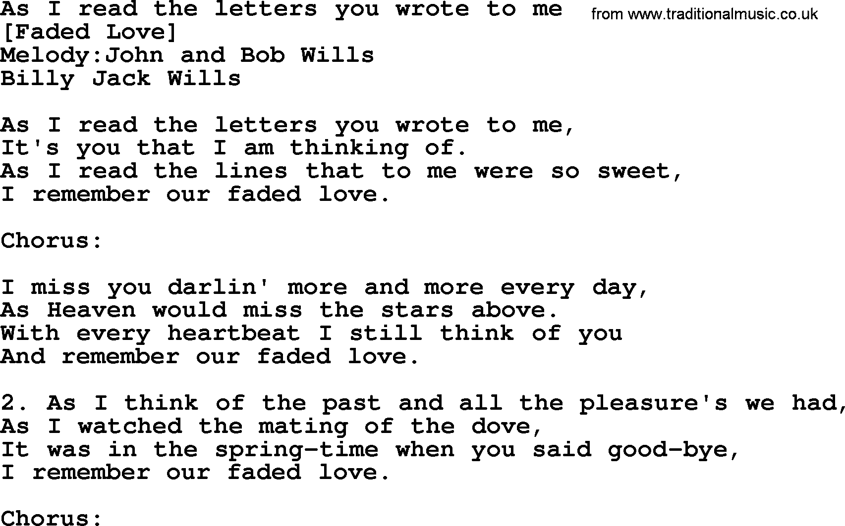 Old American Song - Lyrics For: As I Read The Letters You Wrote To