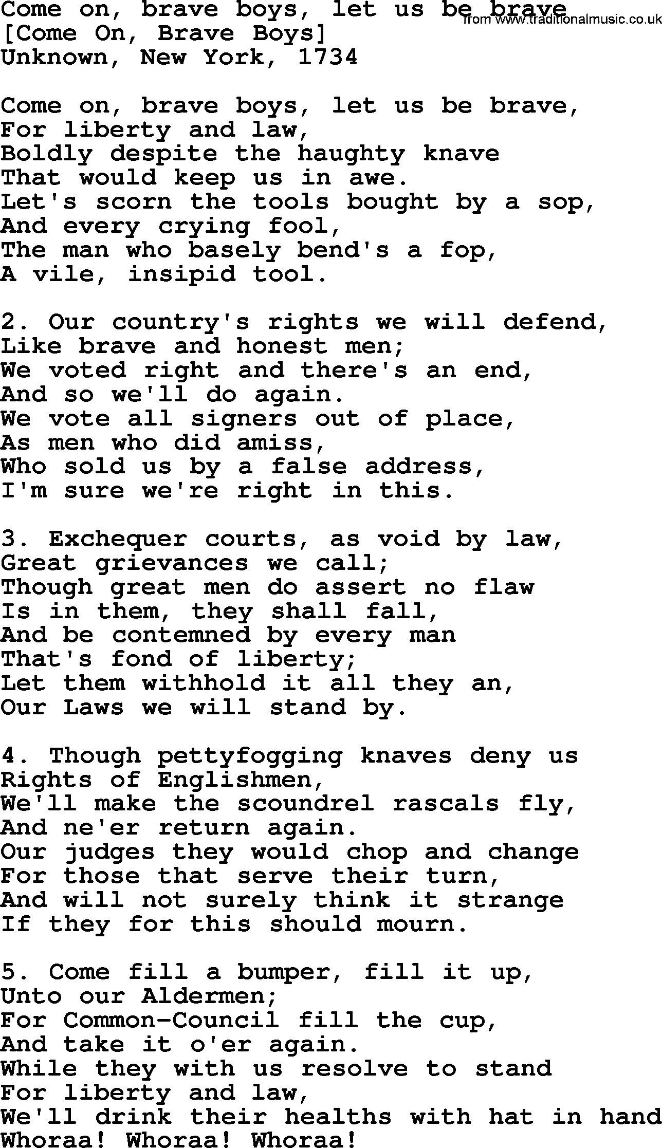 Old American Song - Lyrics for: Come On, Brave Boys, Let Us Be Brave