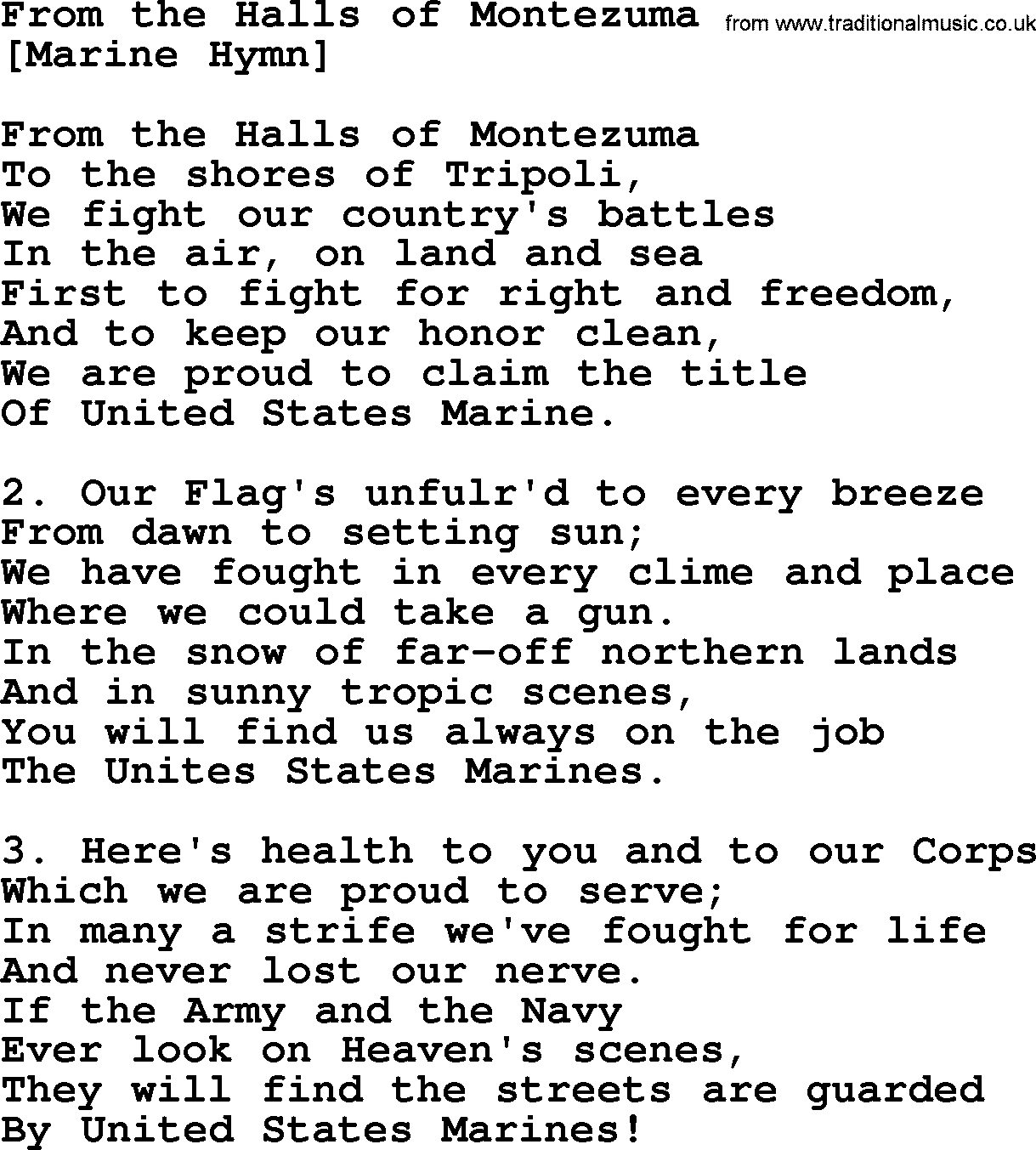 Old American Song - Lyrics for: From The Halls Of ...