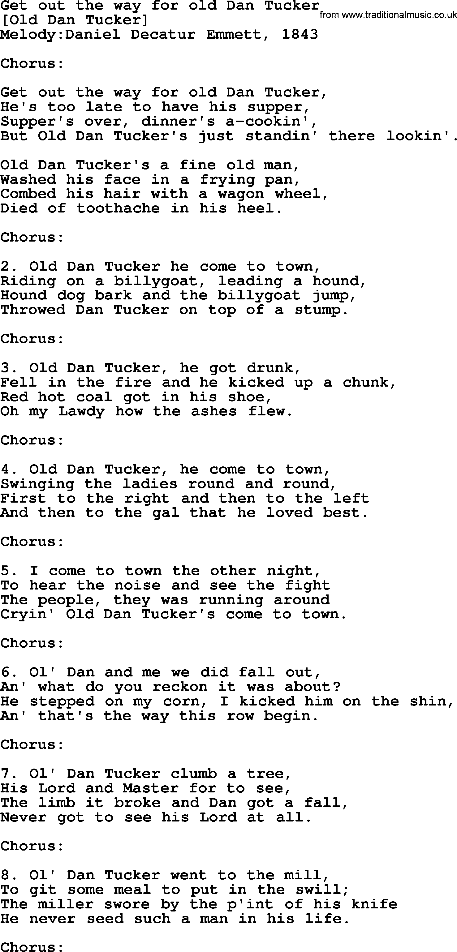 Dan tucker lyrics