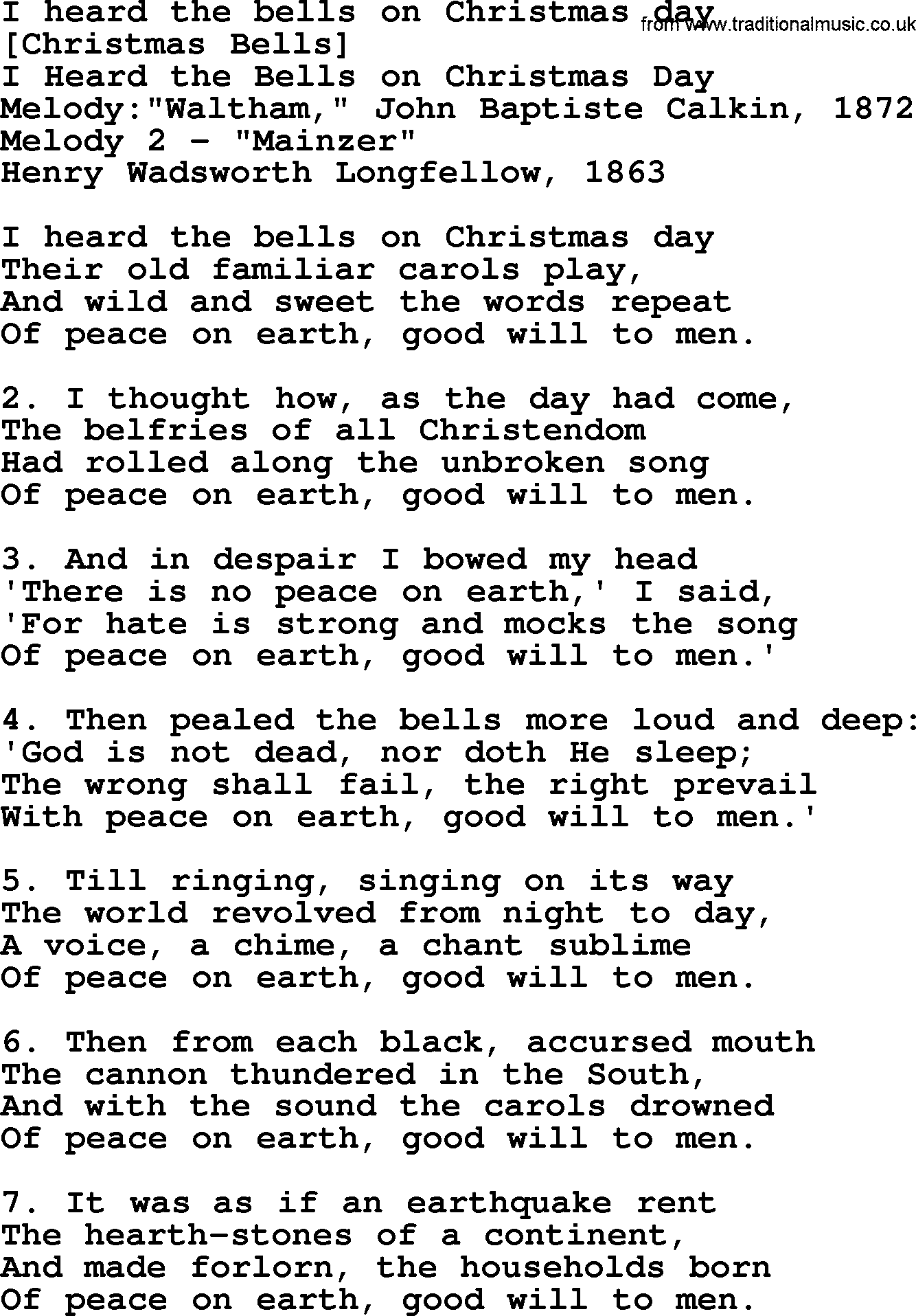 I Heard The Bells On Christmas Day Lyrics.Old American Song Lyrics For I Heard The Bells On