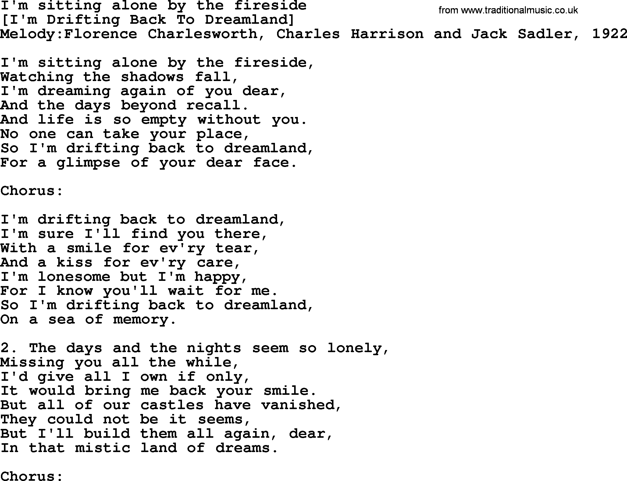 Old American Song - Lyrics for: I'm Sitting Alone By The
