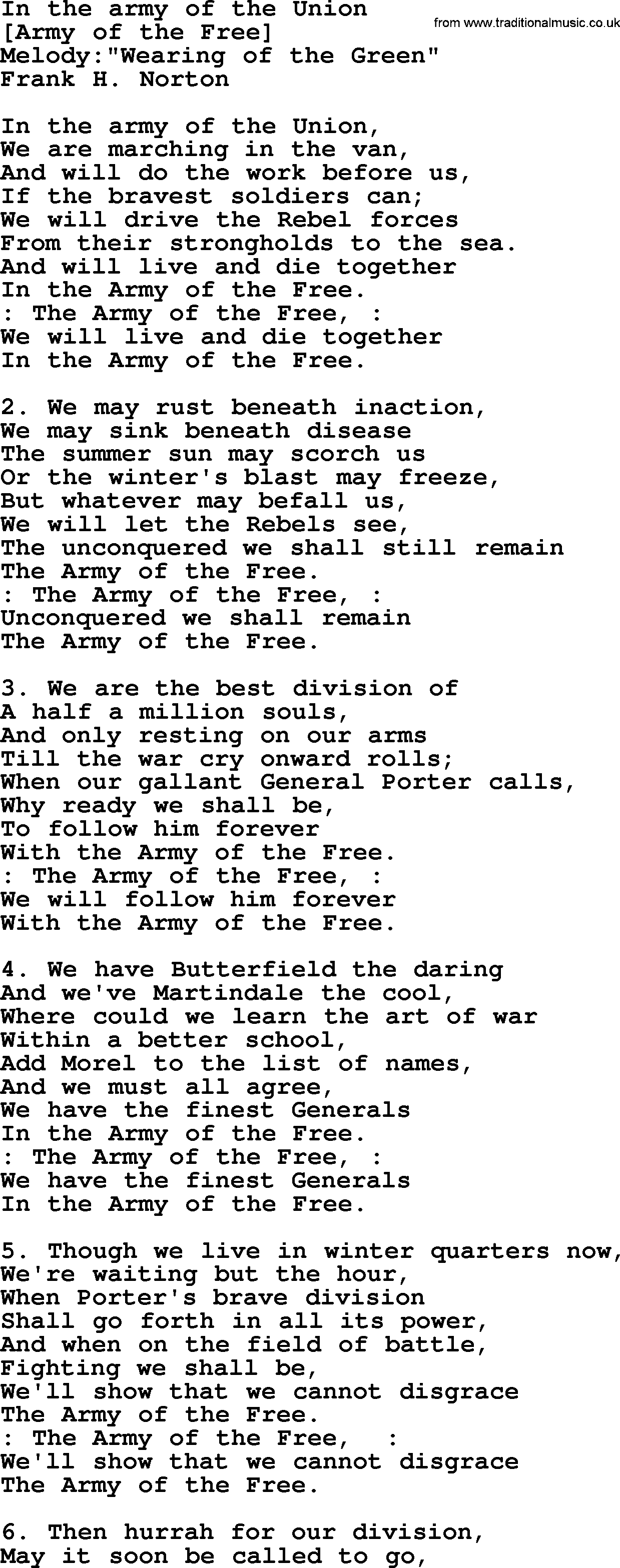 Old American Song - Lyrics for: In The Army Of The Union
