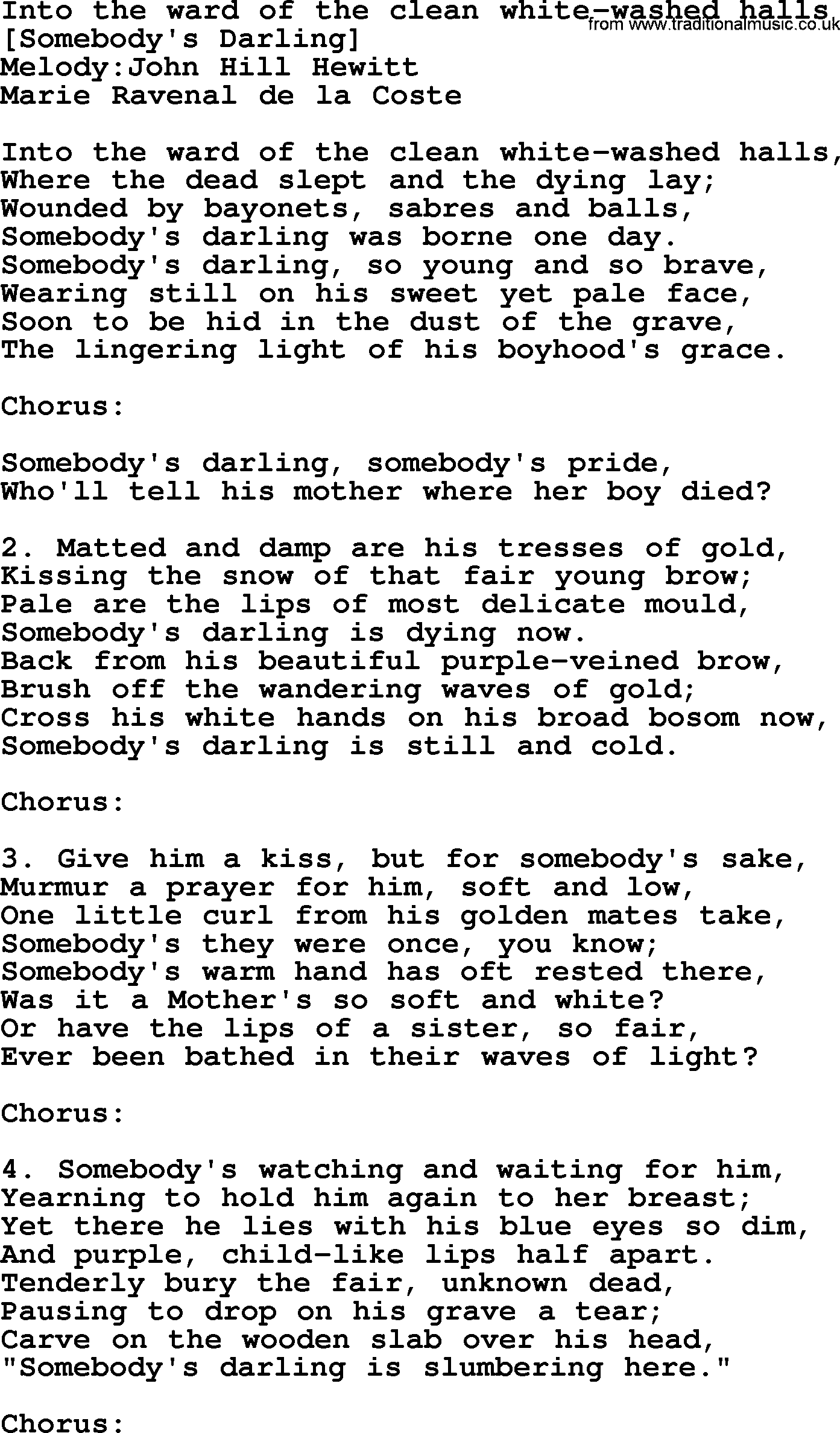 Old american song lyrics for into the ward of the clean for Music to clean to