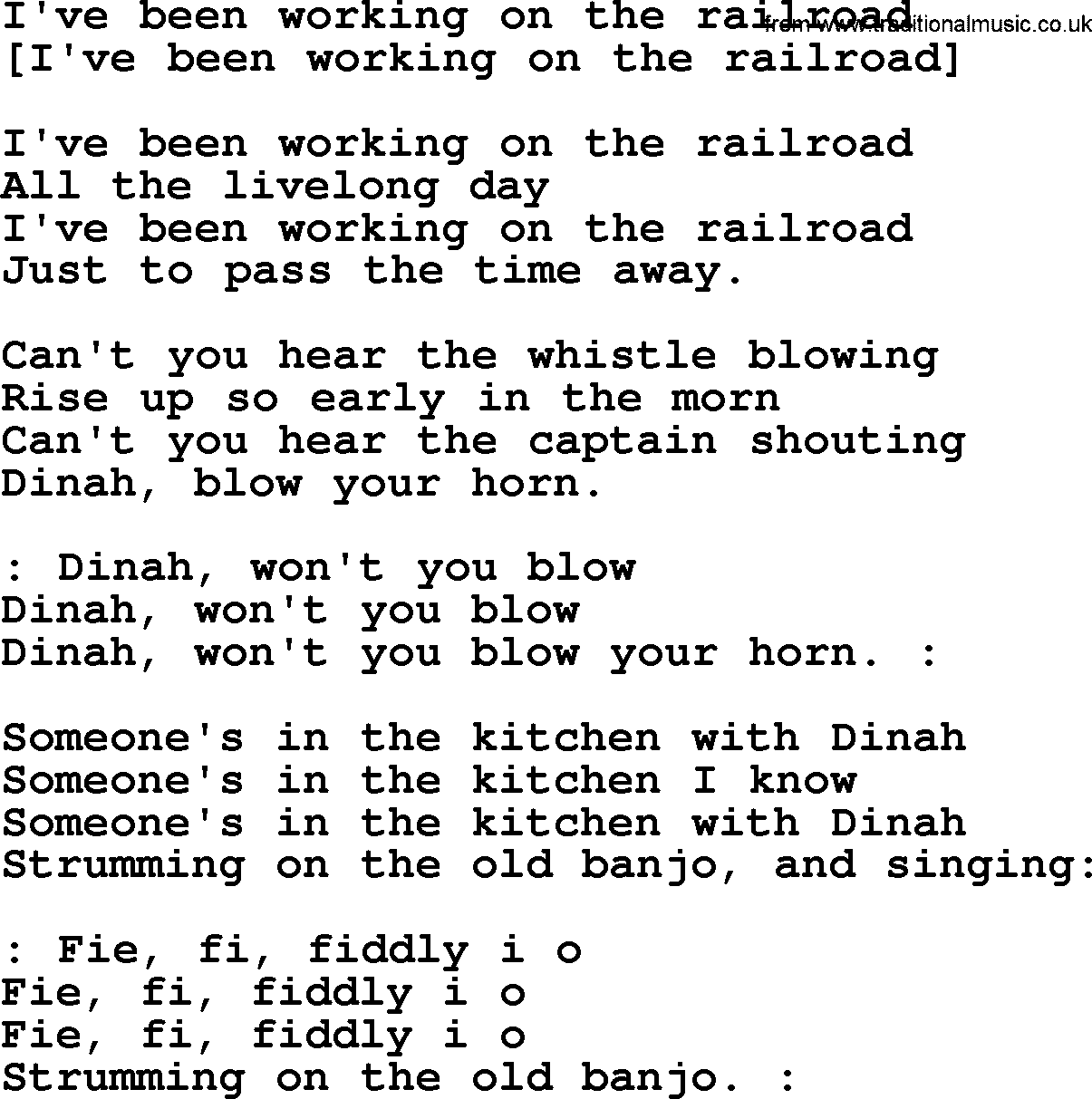 Old American Song - Lyrics for: I\'ve Been Working On The Railroad ...