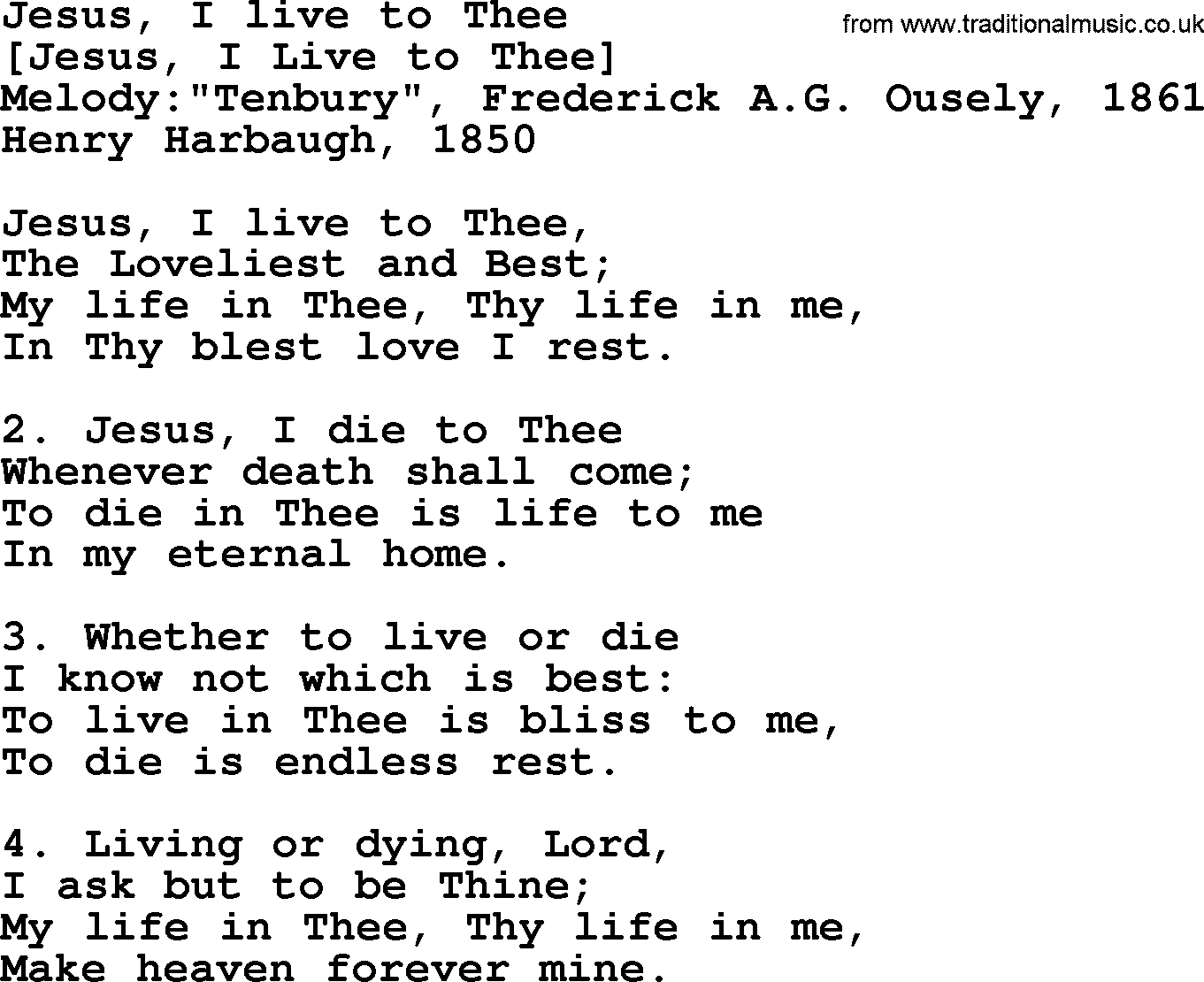 Old American Song - Lyrics for: Jesus, I Live To Thee, with PDF