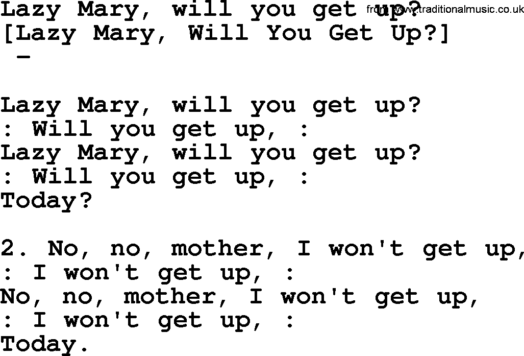Old American Song - Lyrics for: Lazy Mary, Will You Get Up, with PDF