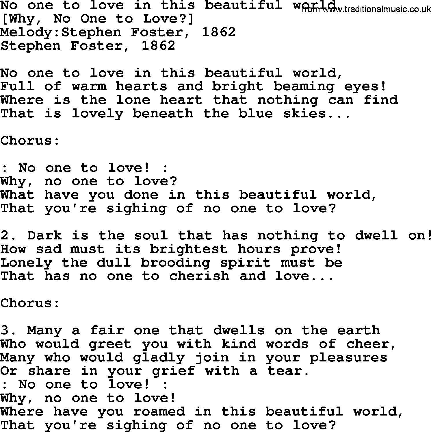 Old American Song Lyrics For No One To Love In This Beautiful World With Pdf