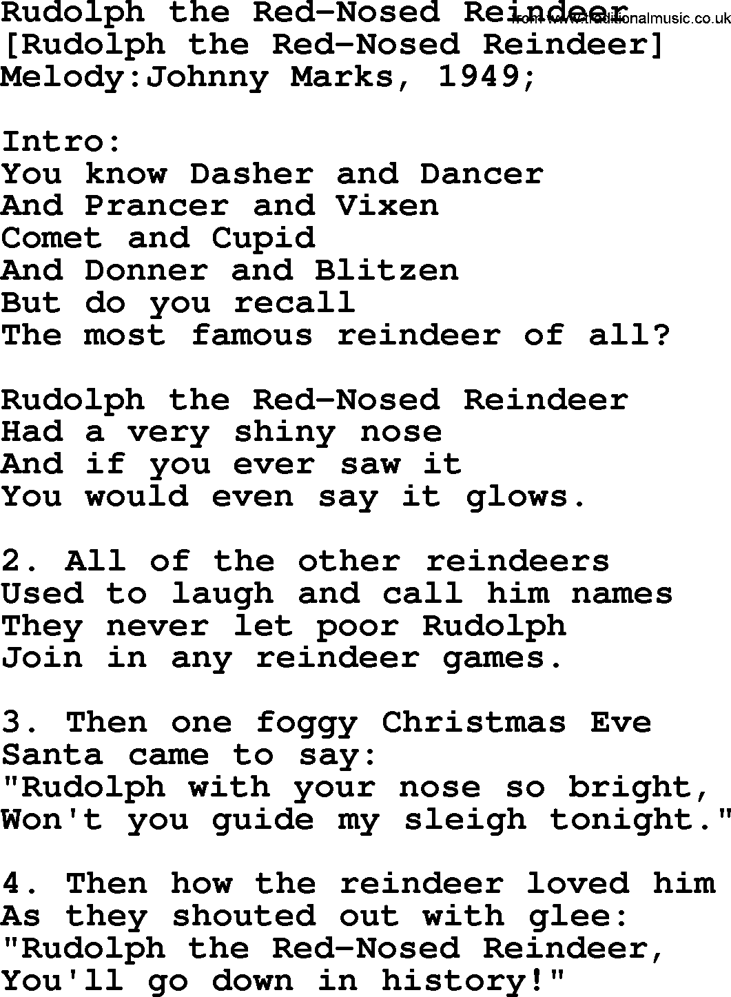 old american song rudolph the red nosed reindeer lyrics