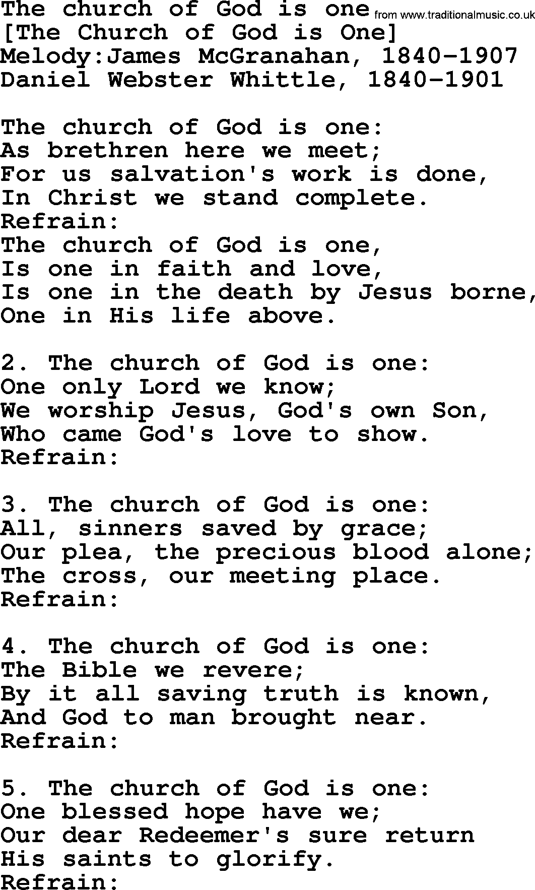 Old American Song - Lyrics for: The Church Of God Is One