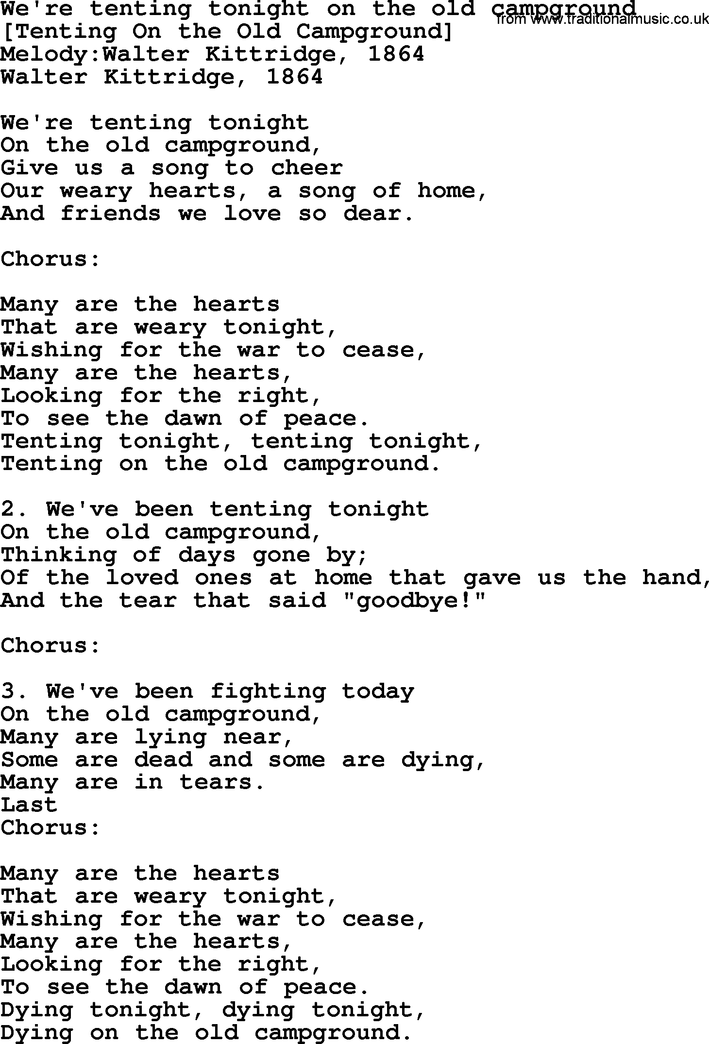 Old American Song Weu0027re Tenting Tonight On The Old C&ground lyrics  sc 1 st  Traditional Music Library & Old American Song - Lyrics for: Weu0027re Tenting Tonight On The Old ...