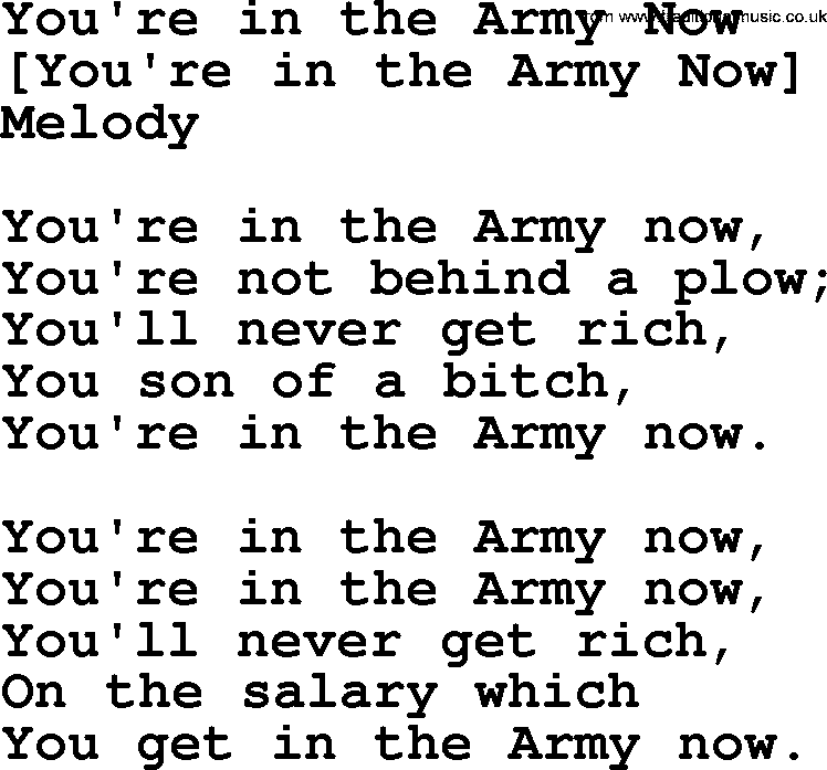 Old American Song - Lyrics for: You're In The Army Now, with PDF