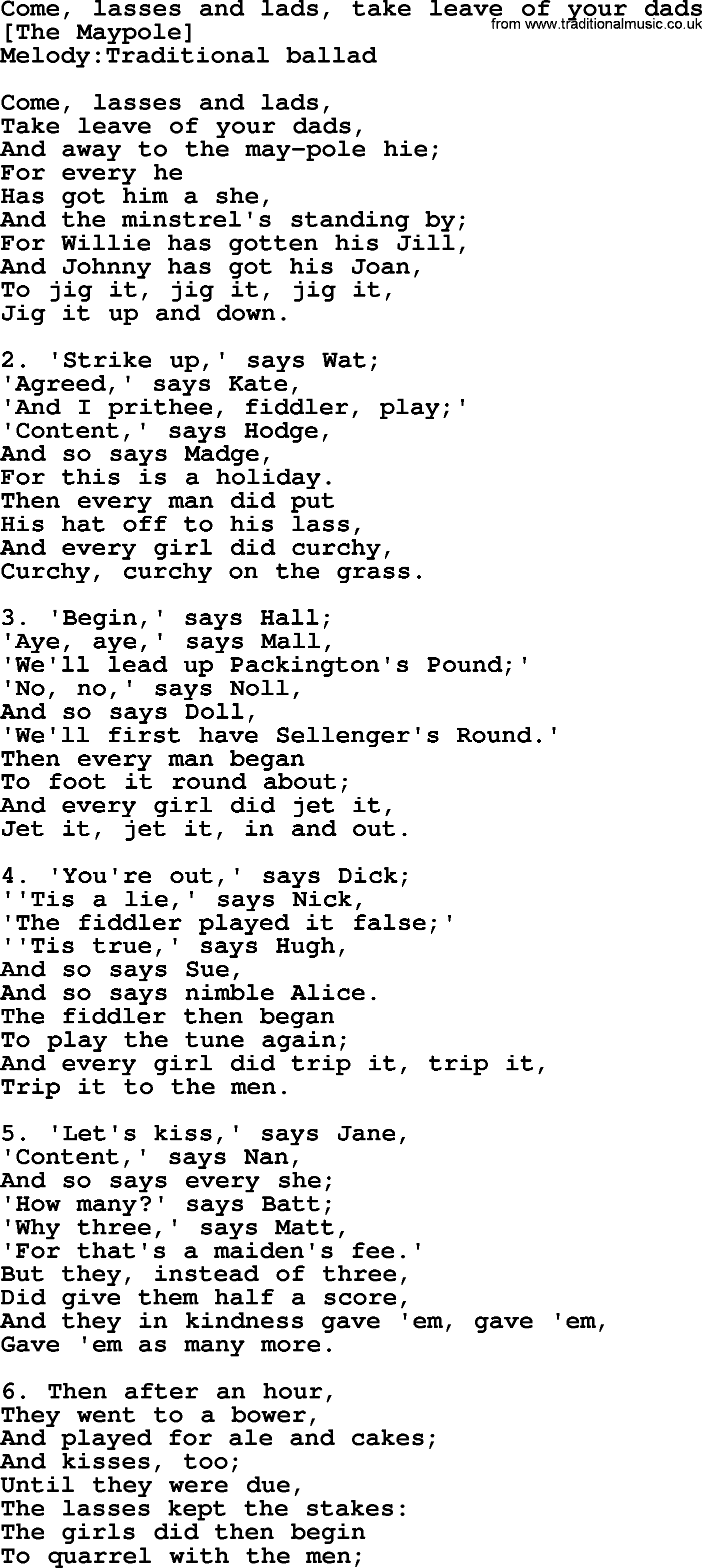 Old English Song Lyrics For Come Lasses And Lads Take Leave Of