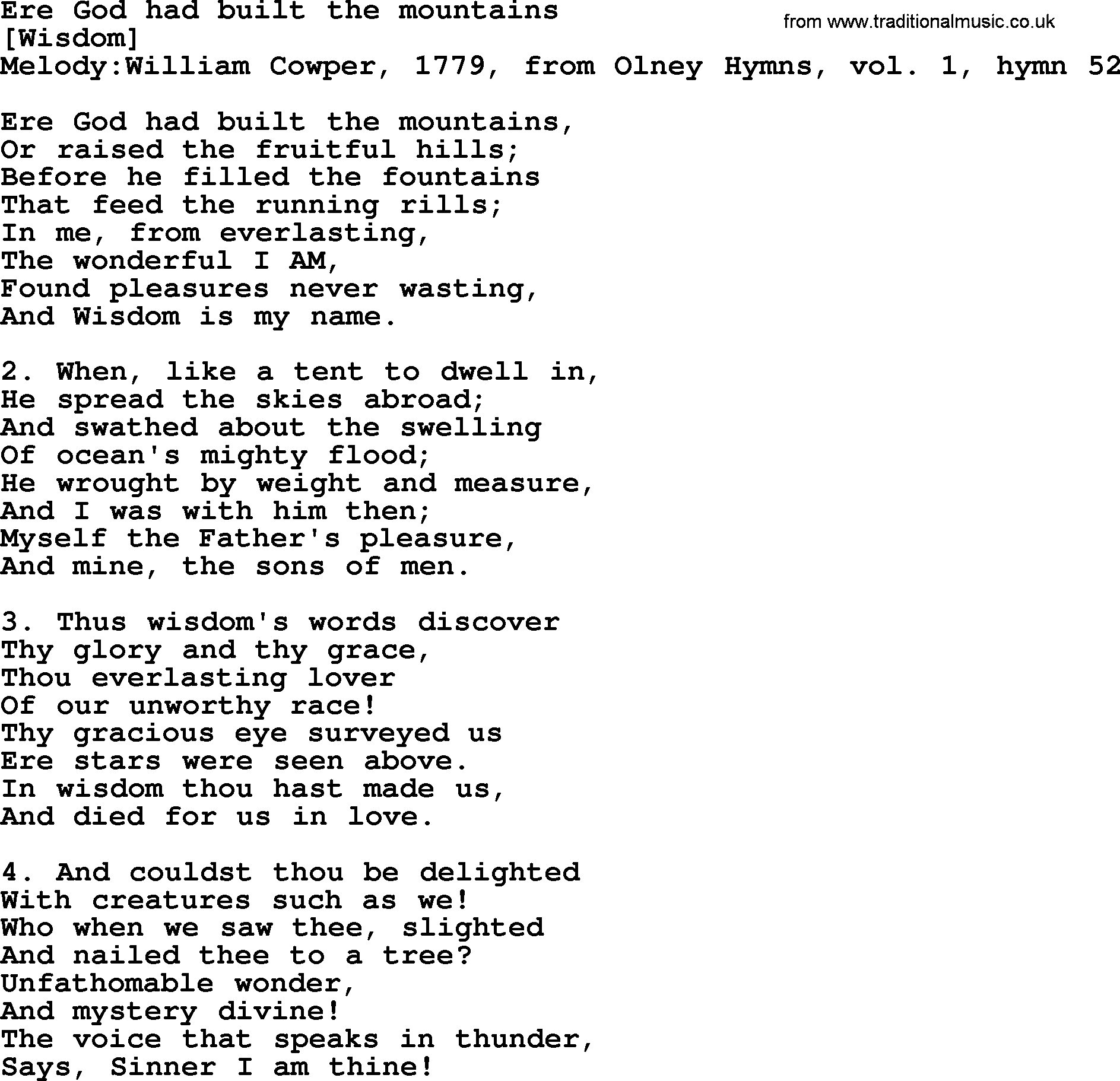 Old English Song Lyrics for Ere God Had Built The Mountains