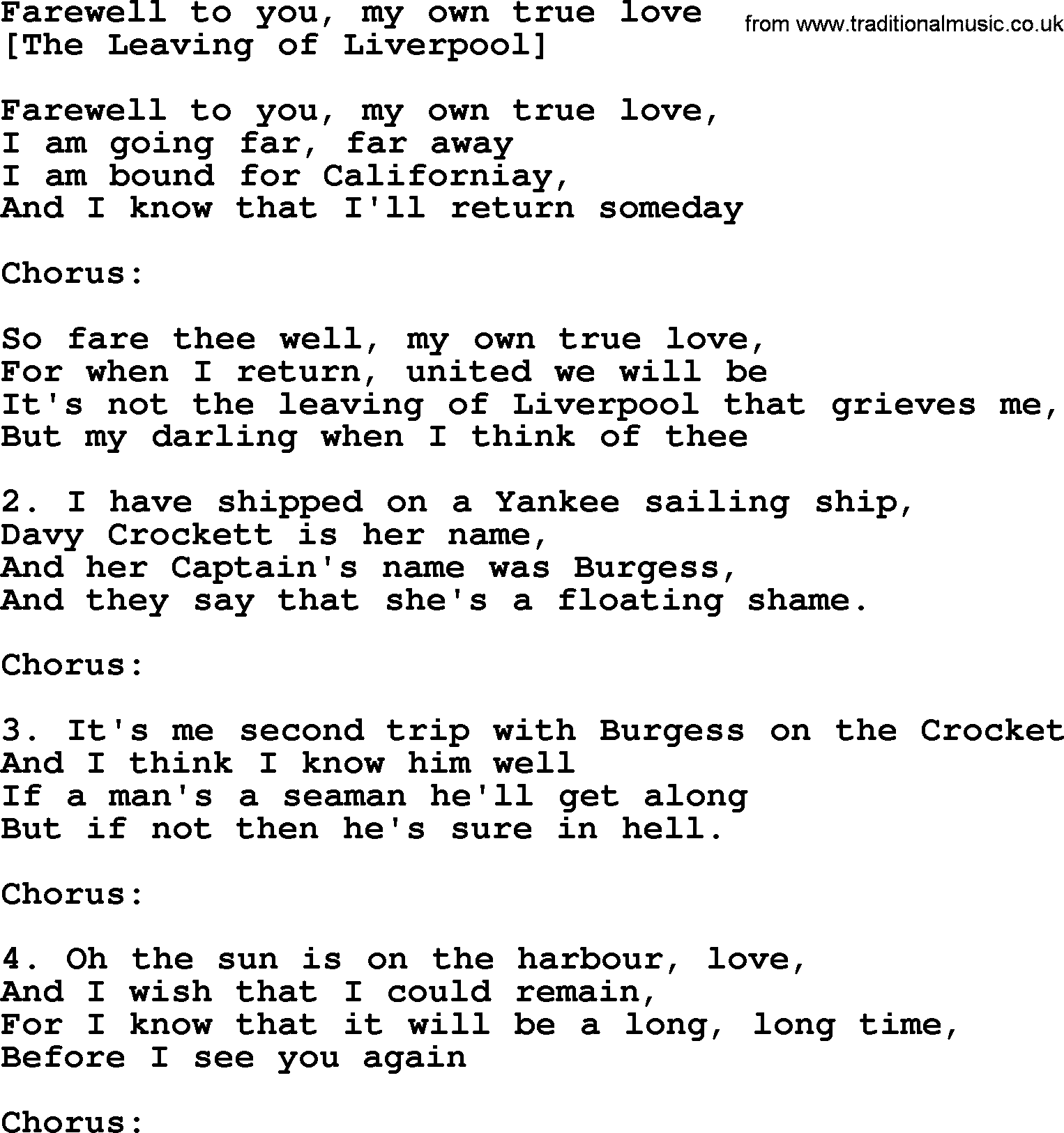 Old English Song Lyrics for Farewell To You, My Own True
