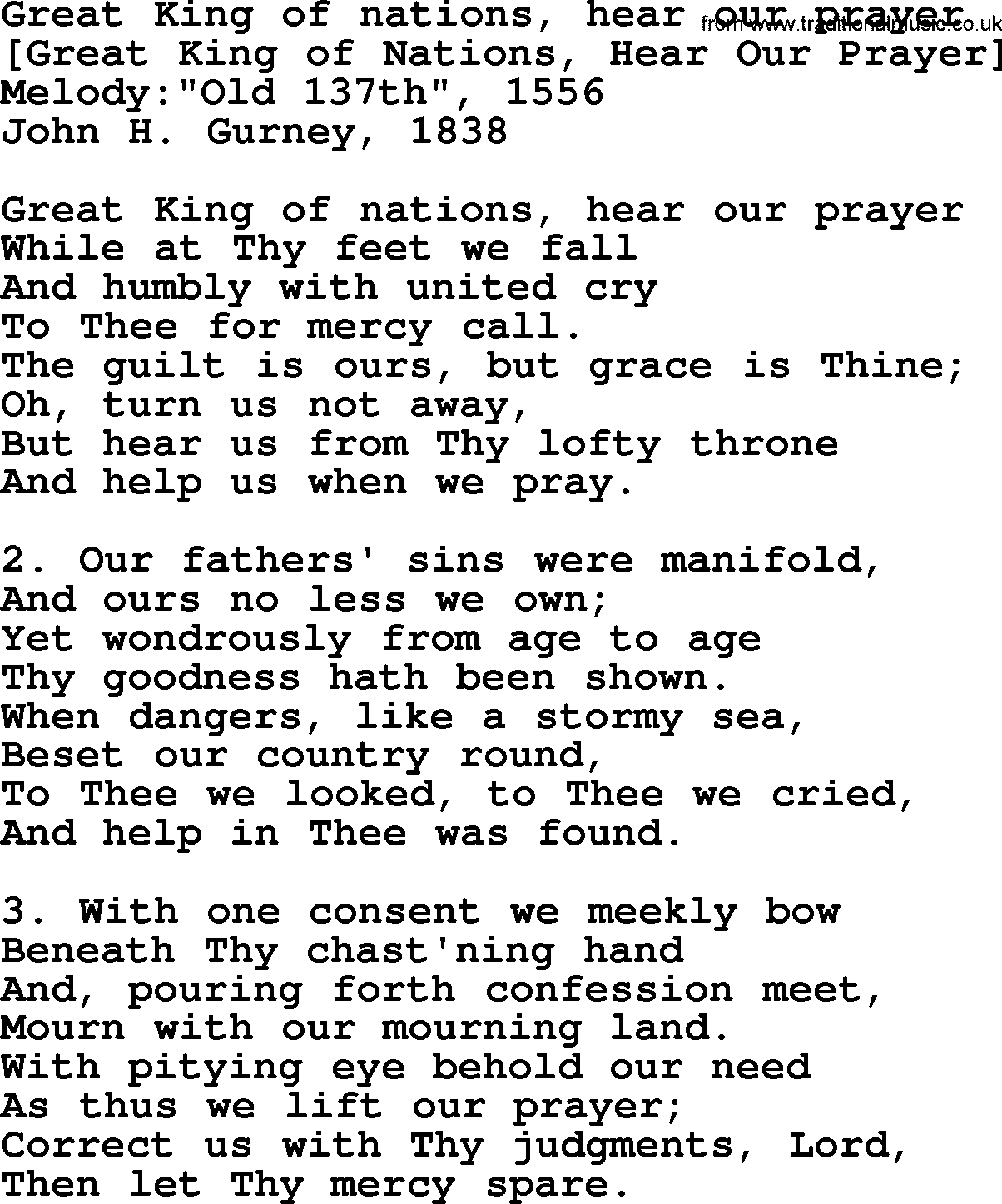 Great king of nations hear our prayer as pdf file for printing etc