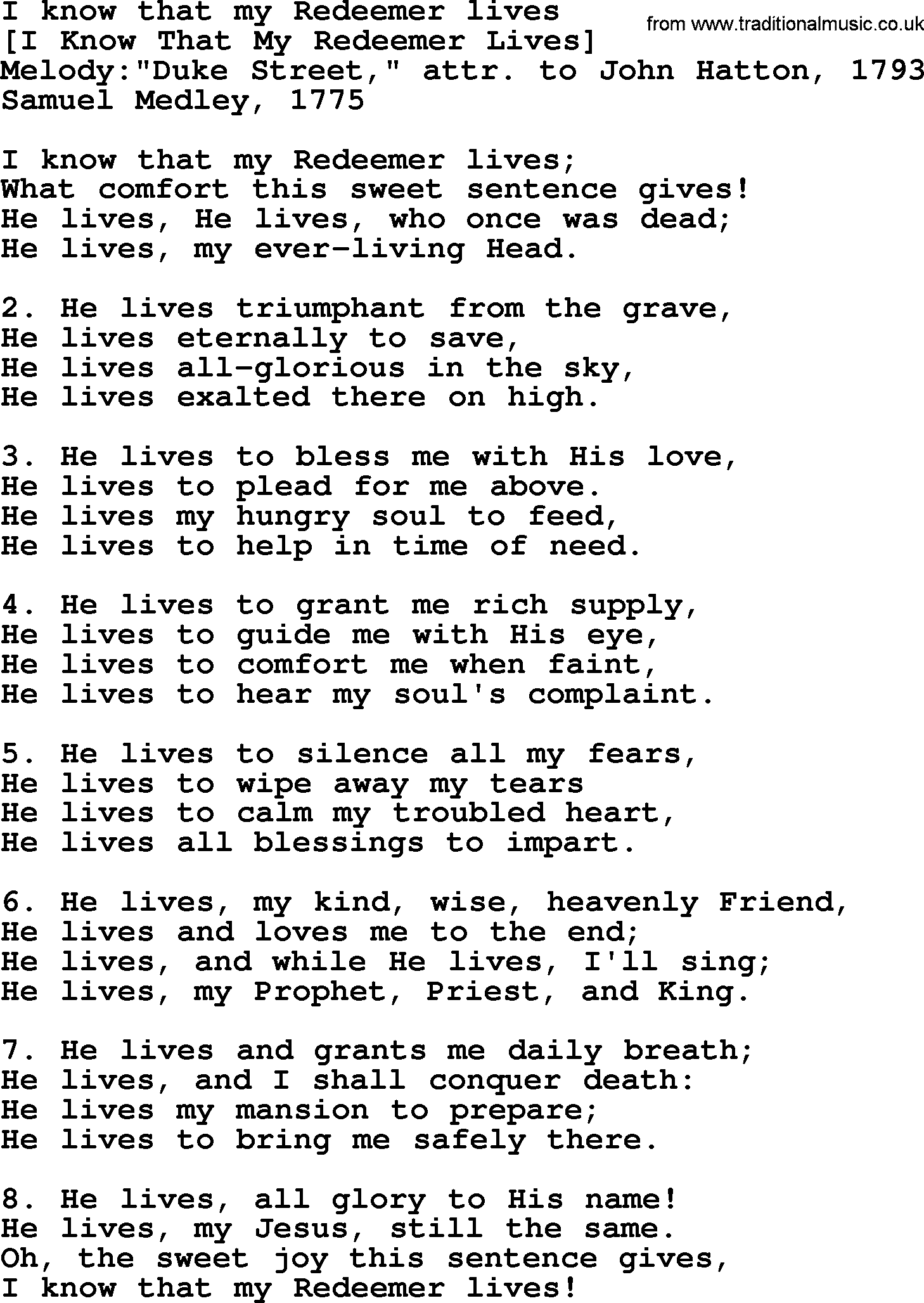 Old English Song Lyrics for I Know That My Redeemer Lives, with PDF