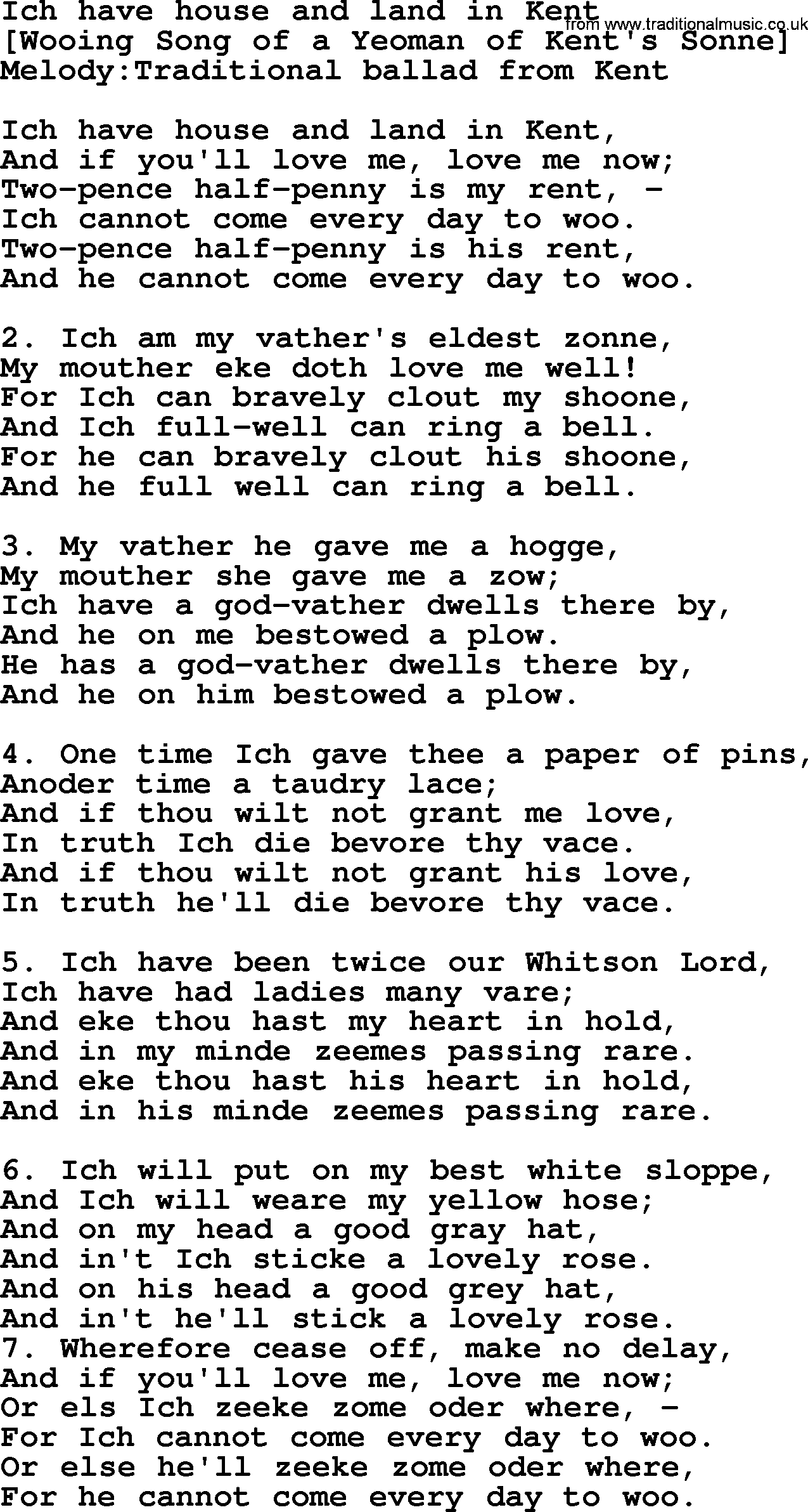 Old english song lyrics for ich have house and land in for Classic house music songs