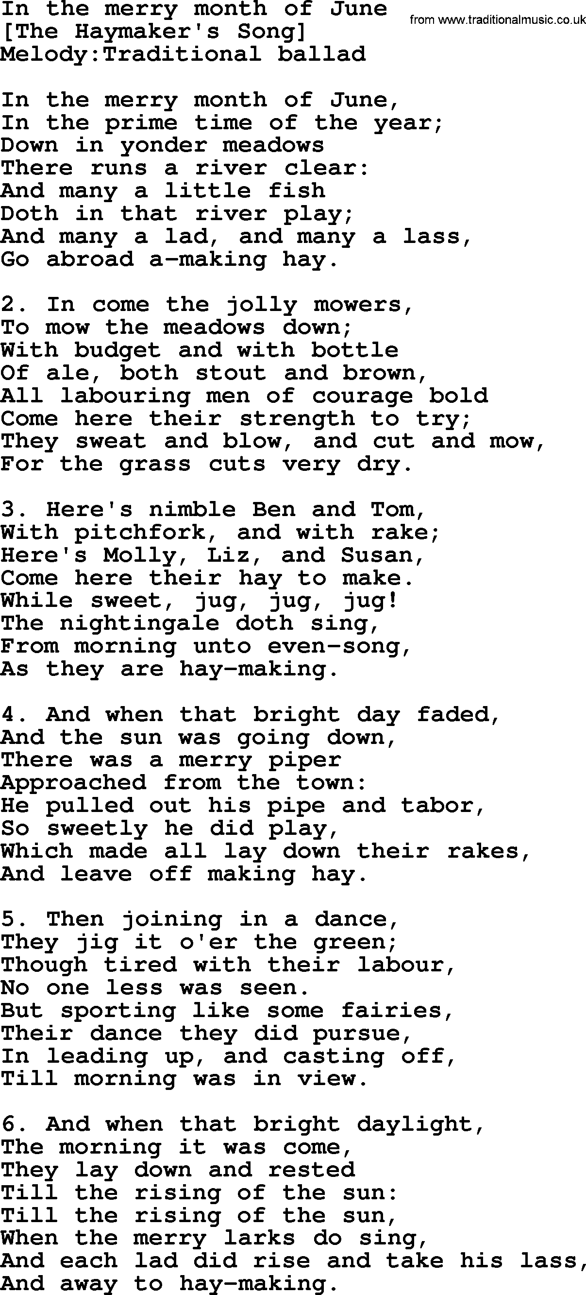 Old English Song Lyrics For In The Merry Month Of June With Pdf