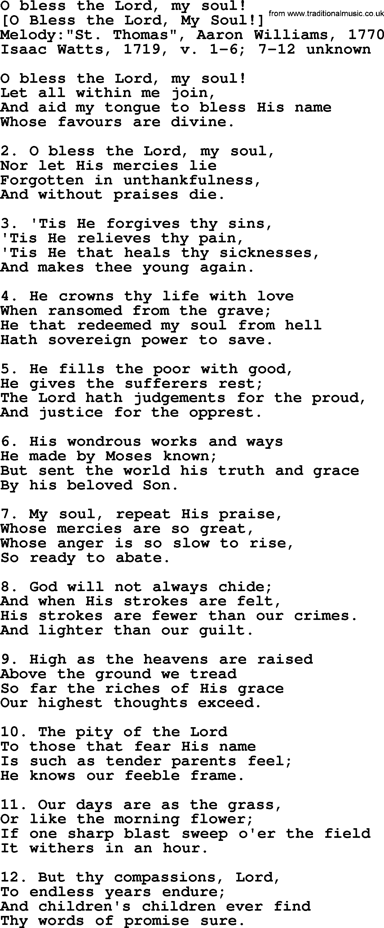 Old English Song Lyrics for O Bless The Lord, My Soul!, with PDF