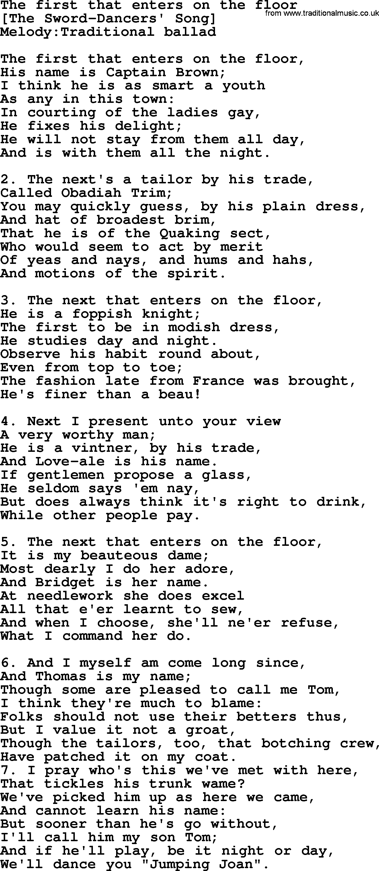 Old English Song: The First That Enters On The Floor Lyrics