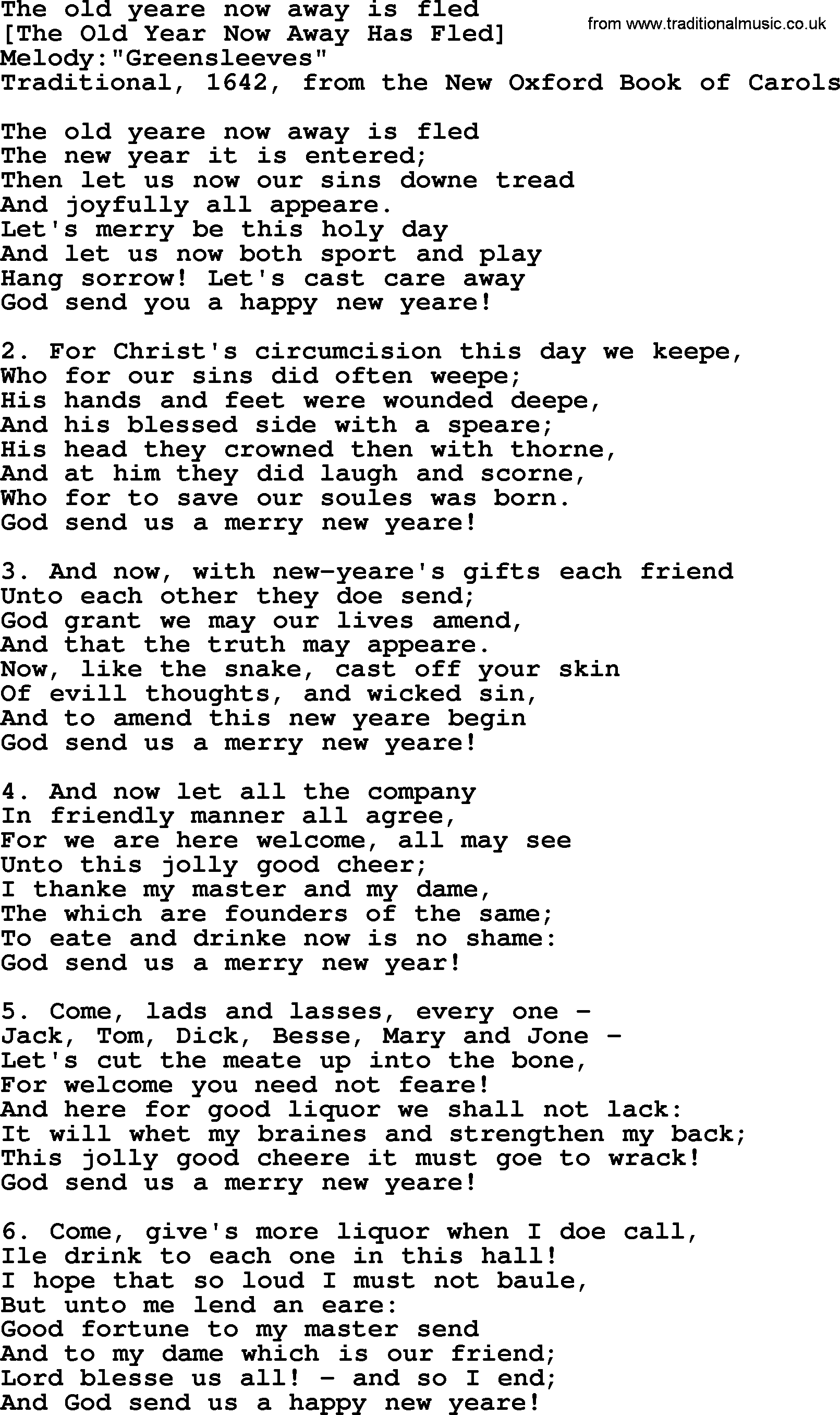 Old English Song Lyrics For The Old Yeare Now Away Is Fled With Pdf