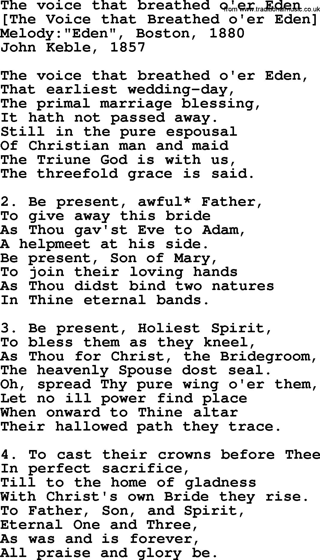 Old English Song Lyrics for The Voice That Breathed O'er Eden, with PDF