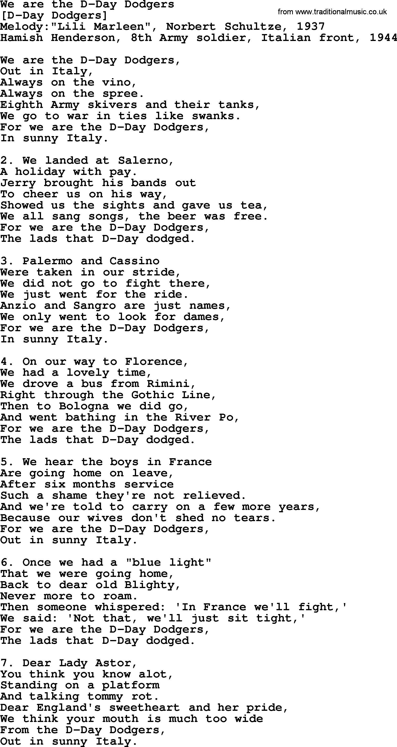 Old English Song Lyrics for We Are The D-Day Dodgers, with PDF