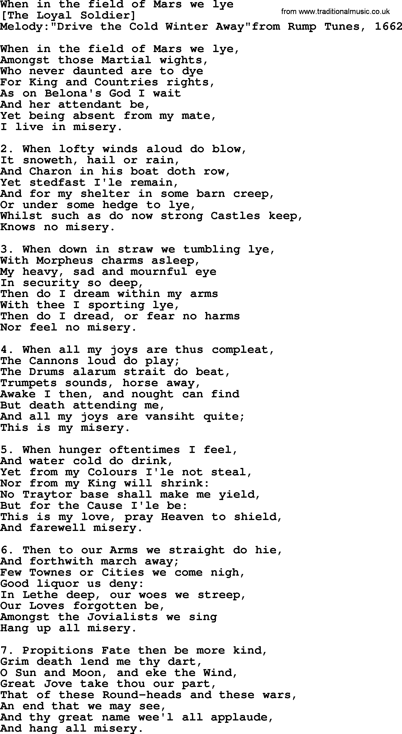 Old English Song Lyrics for When In The Field Of Mars We Lye