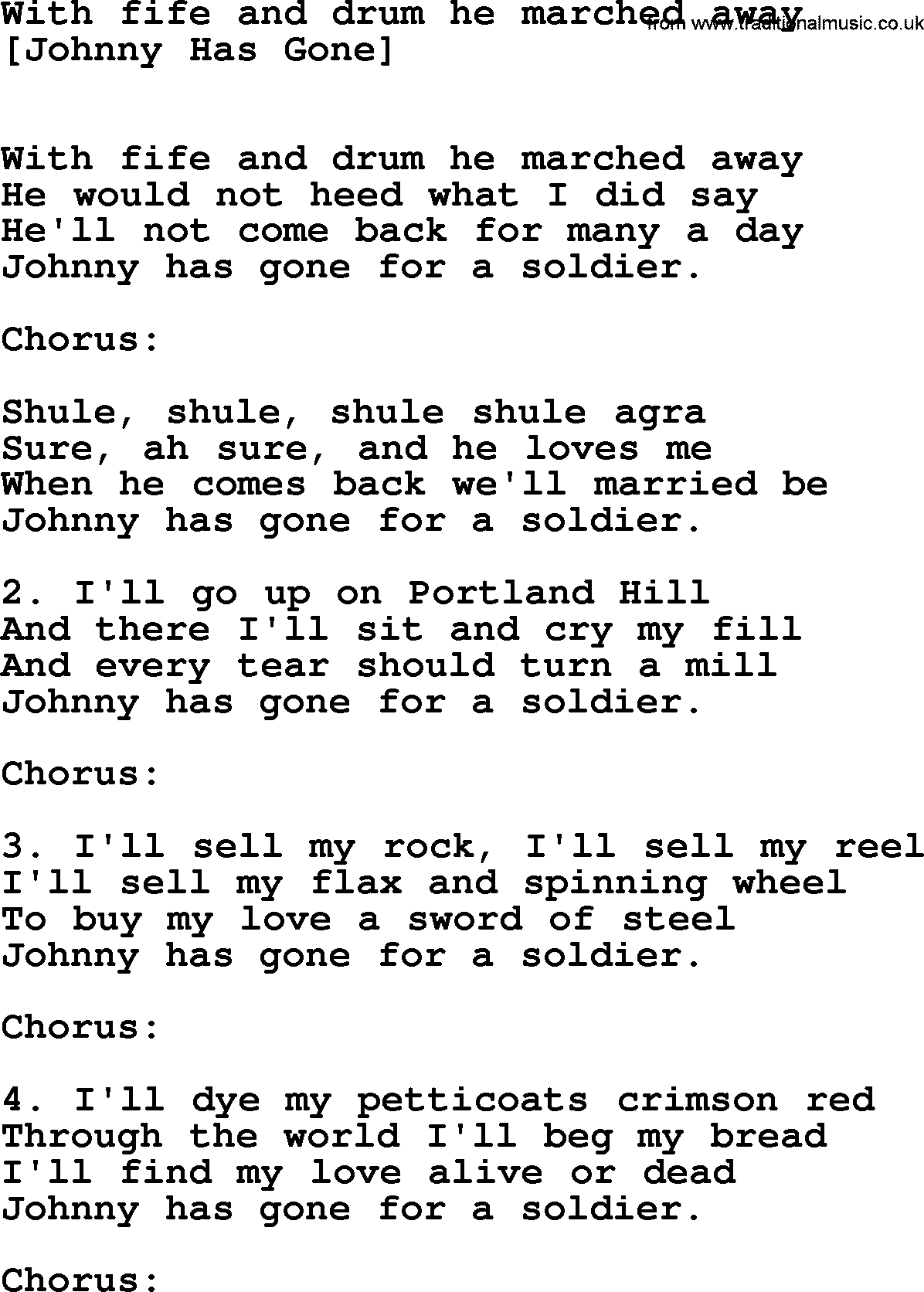 Old English Song Lyrics For With Fife And Drum He Marched Away With Pdf