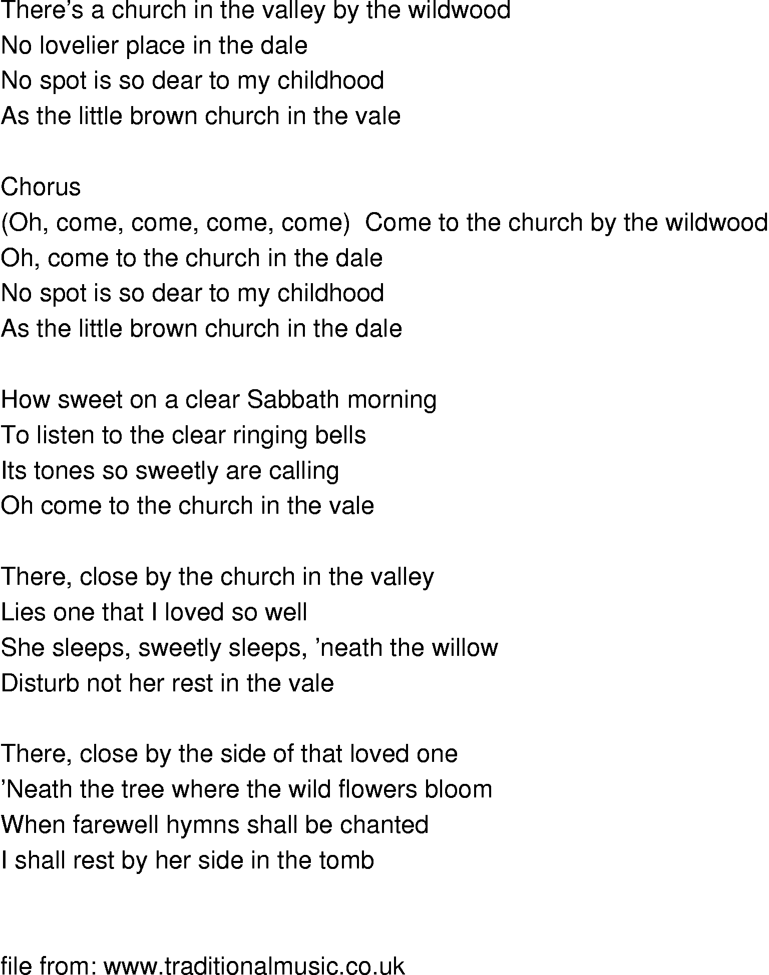 Old-Time Song Lyrics - Church In The Wildwood