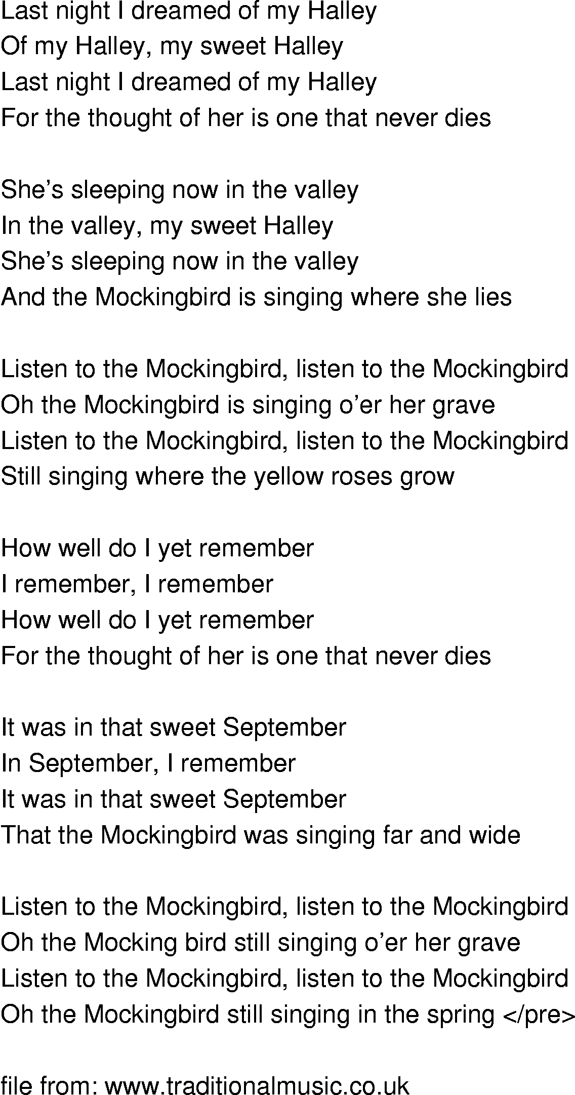 Old-Time Song Lyrics - Listen To The Mockingbird