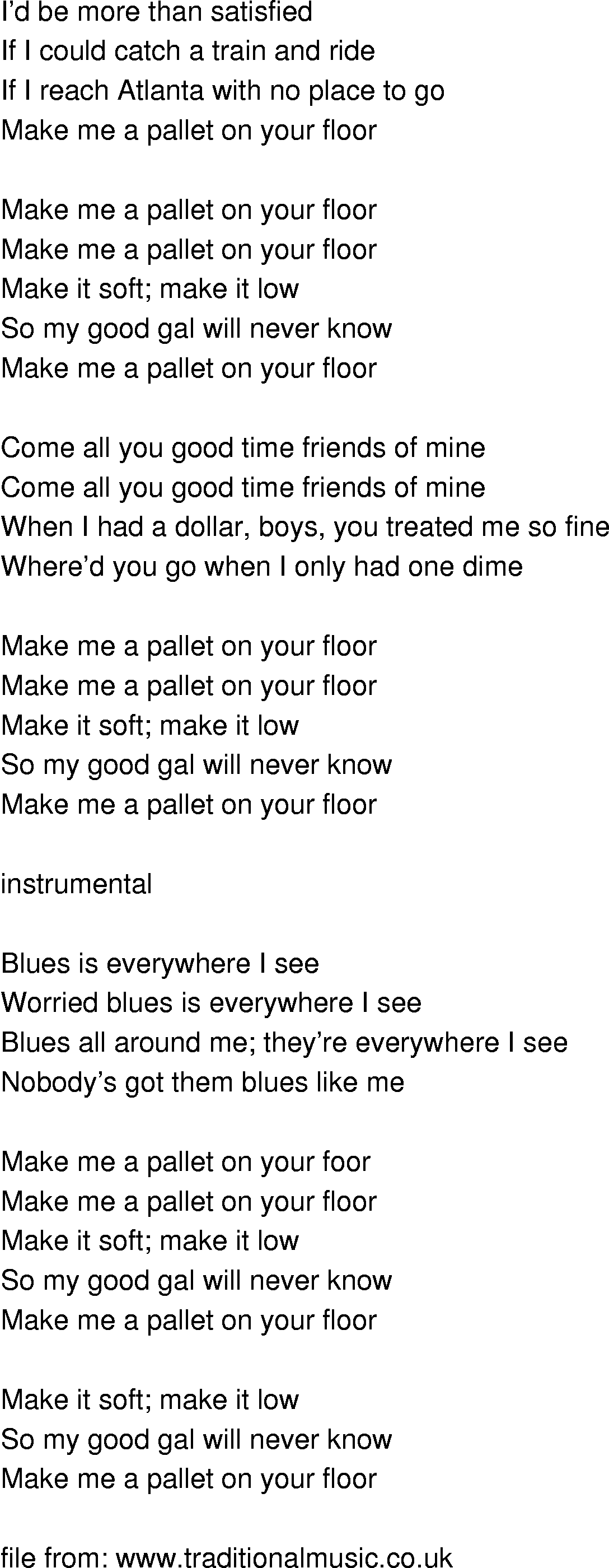 Old-Time Song Lyrics - Make Me A Pallet On Your Floor