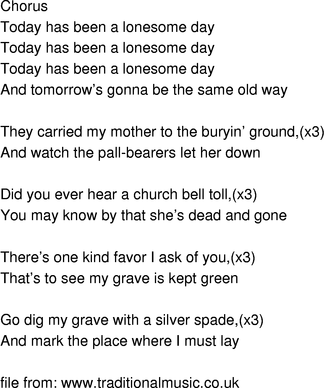 Old-Time Song Lyrics - Sad And Lonesome Day Sad Lyrics