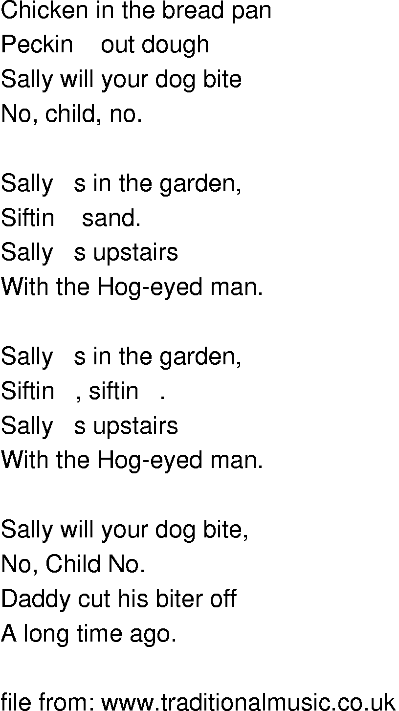 Old Time Song Lyrics Sally In The Garden