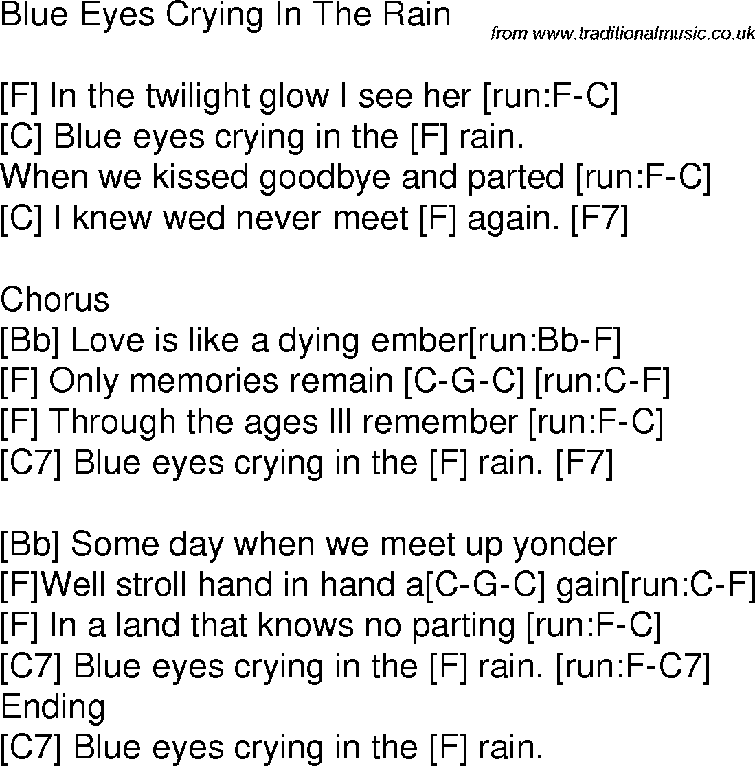 Old Time Song Lyrics With Guitar Chords For Blue Eyes Crying In The